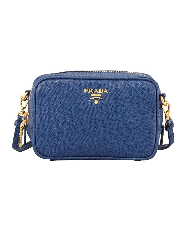Prada Saffiano Mini Zip Crossbody Bag in Blue | Lyst