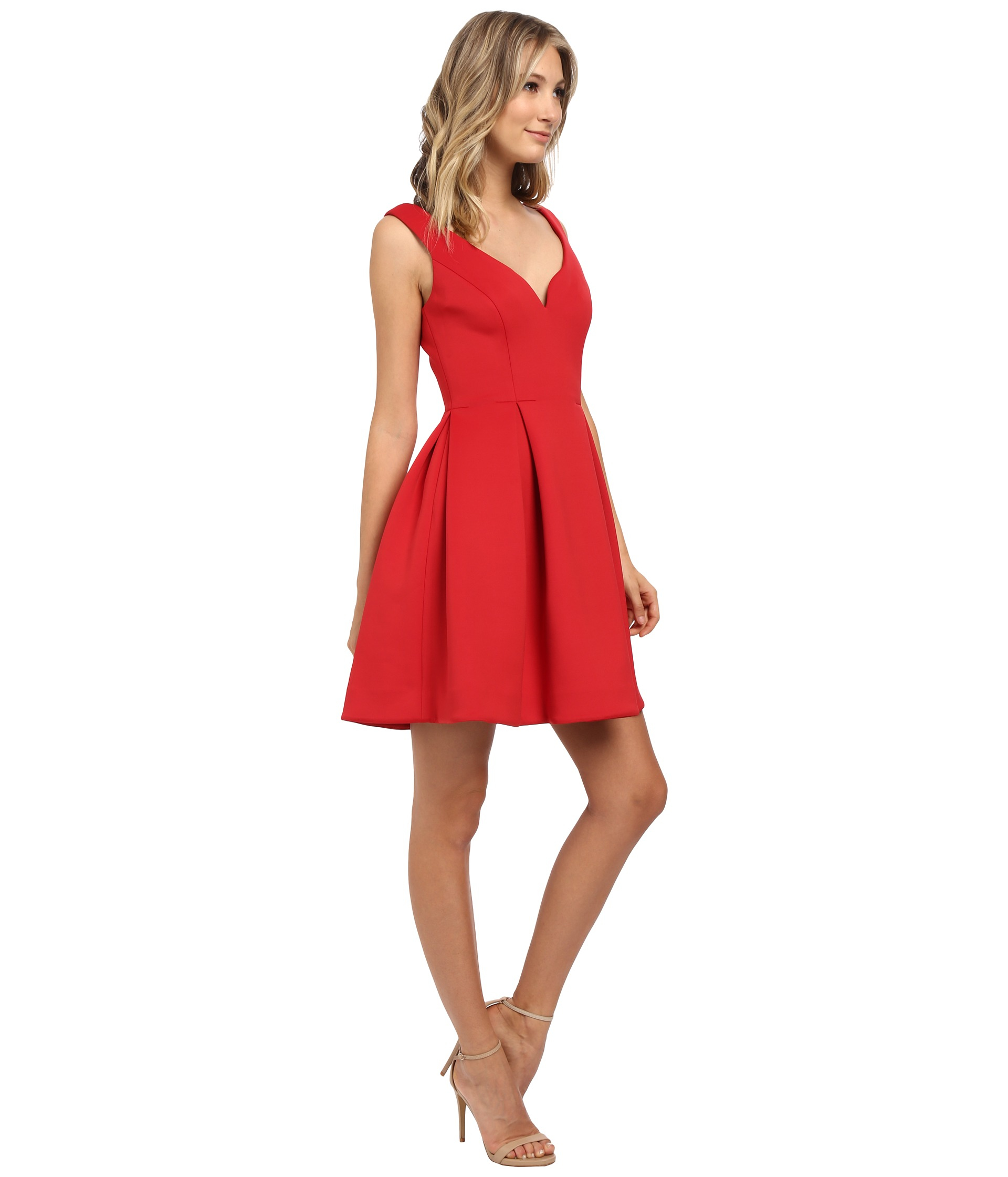 Donna Morgan Sleeveless Scuba Fit Amp Flare Dress In Red Lyst