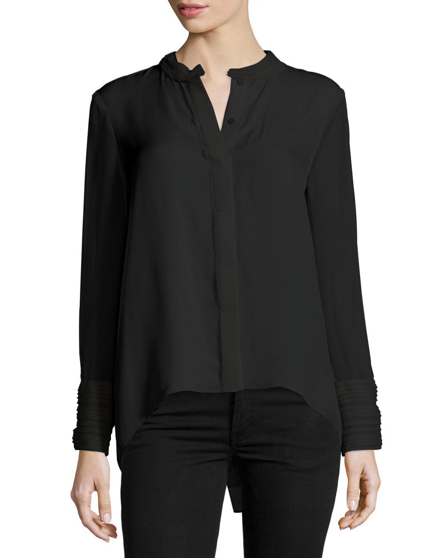Women Blouse Black Silk 110