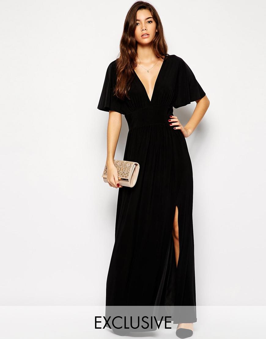 One shoulder kimono sleeve maxi dress