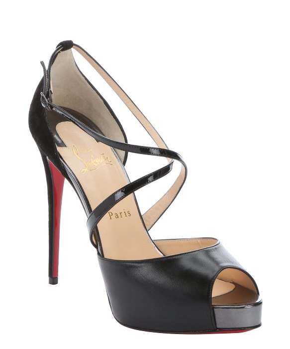 replica louboutin shoes - christian louboutin crossover platform sandals, gold spiked ...