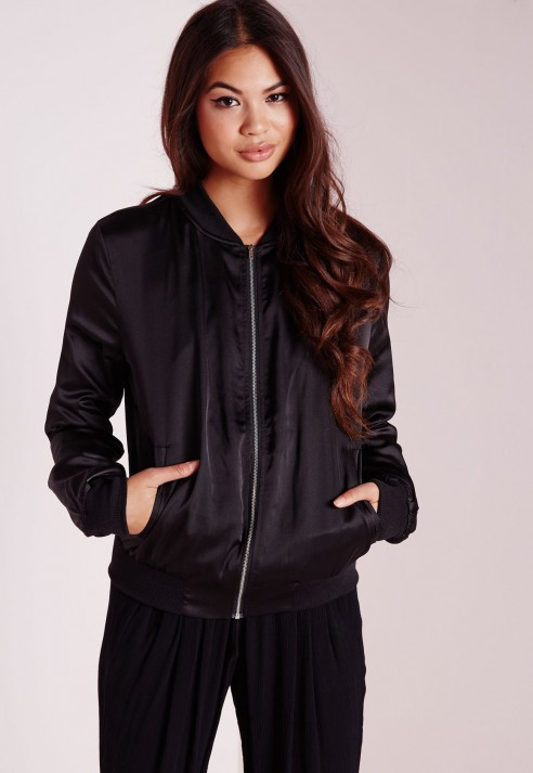 Missguided Oriental Embroidered Satin Bomber Jacket Black in Black