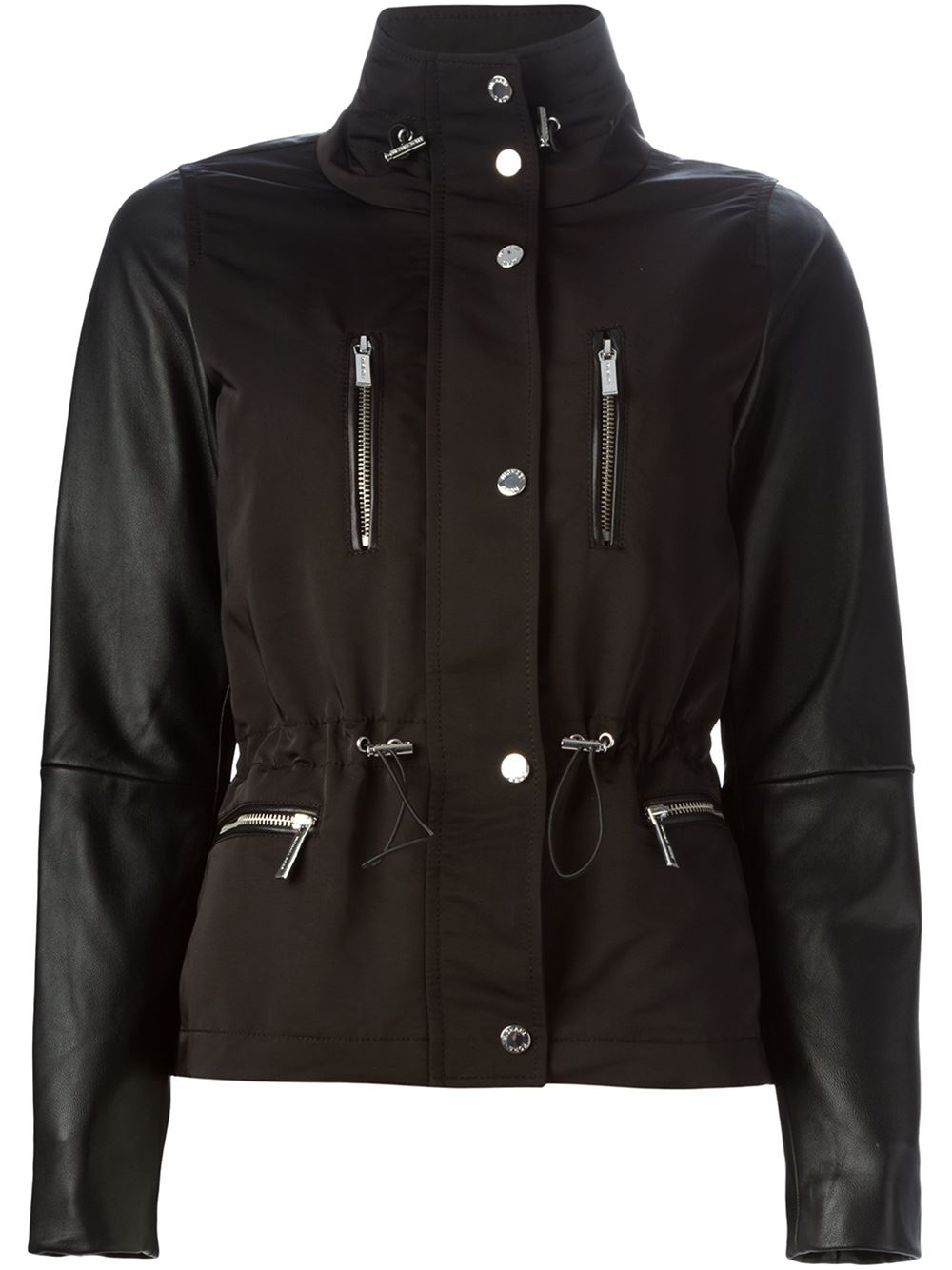 michael michael kors leather sleeve padded jacket in black lyst. Black Bedroom Furniture Sets. Home Design Ideas
