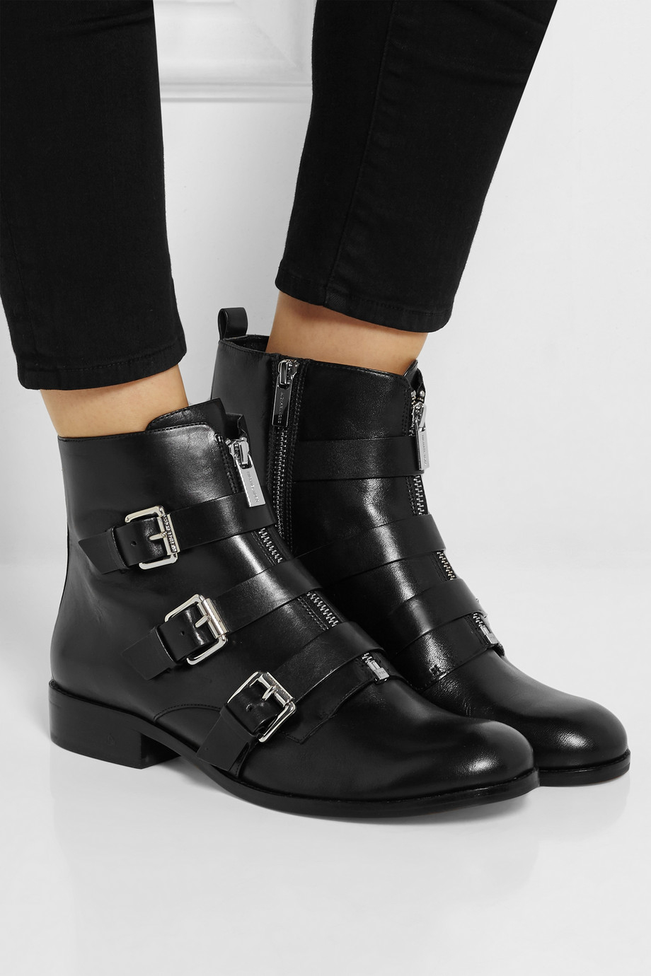 michael michael kors anya leather ankle boots in black lyst. Black Bedroom Furniture Sets. Home Design Ideas