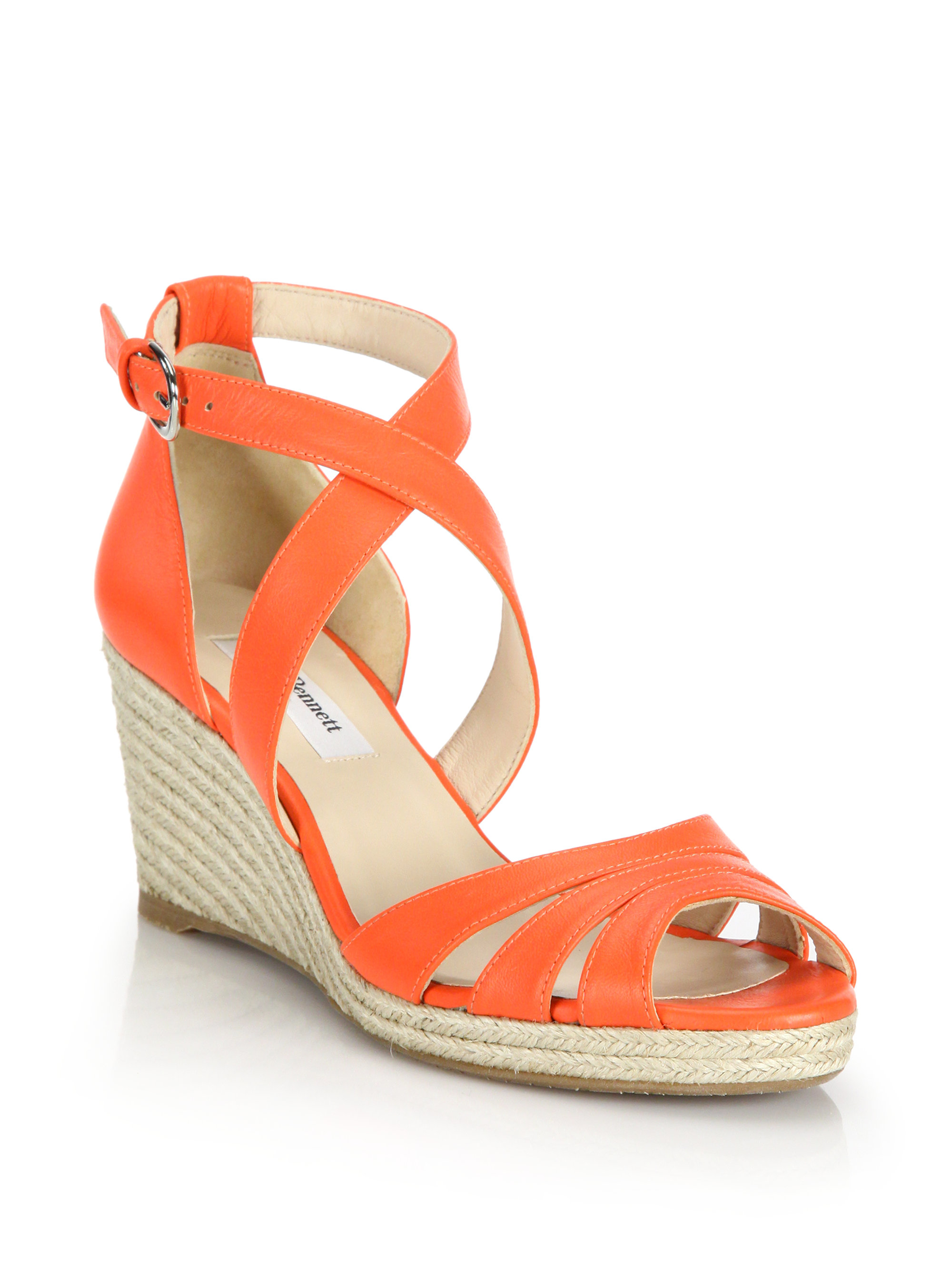 83b07d1f7e0 ... lyst l k bennett priya leather espadrille wedge sandals in orange   trendy orange color block ankle strap ...