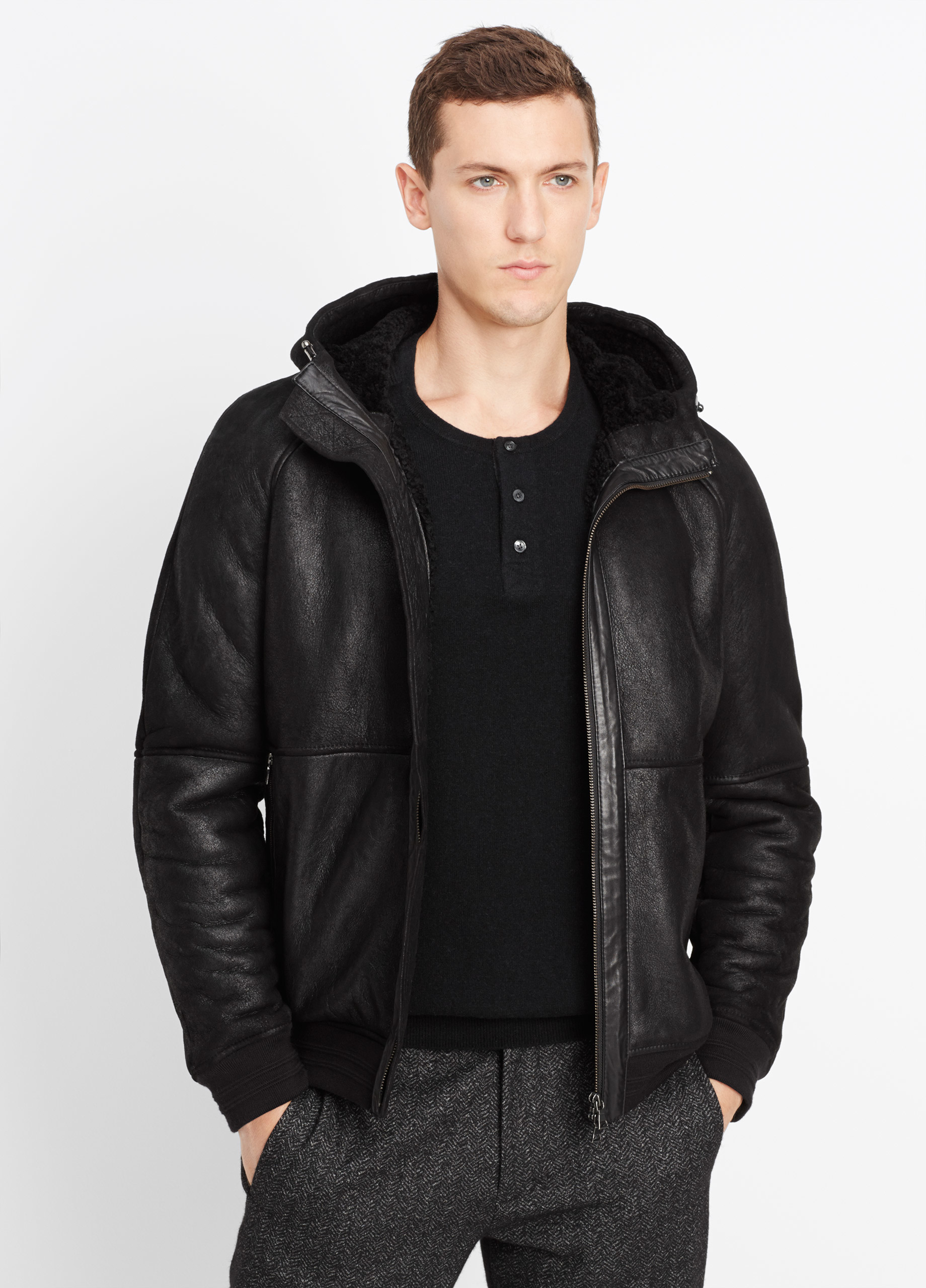 Vince Shearling Bomber Jacket With Hood In Black For Men