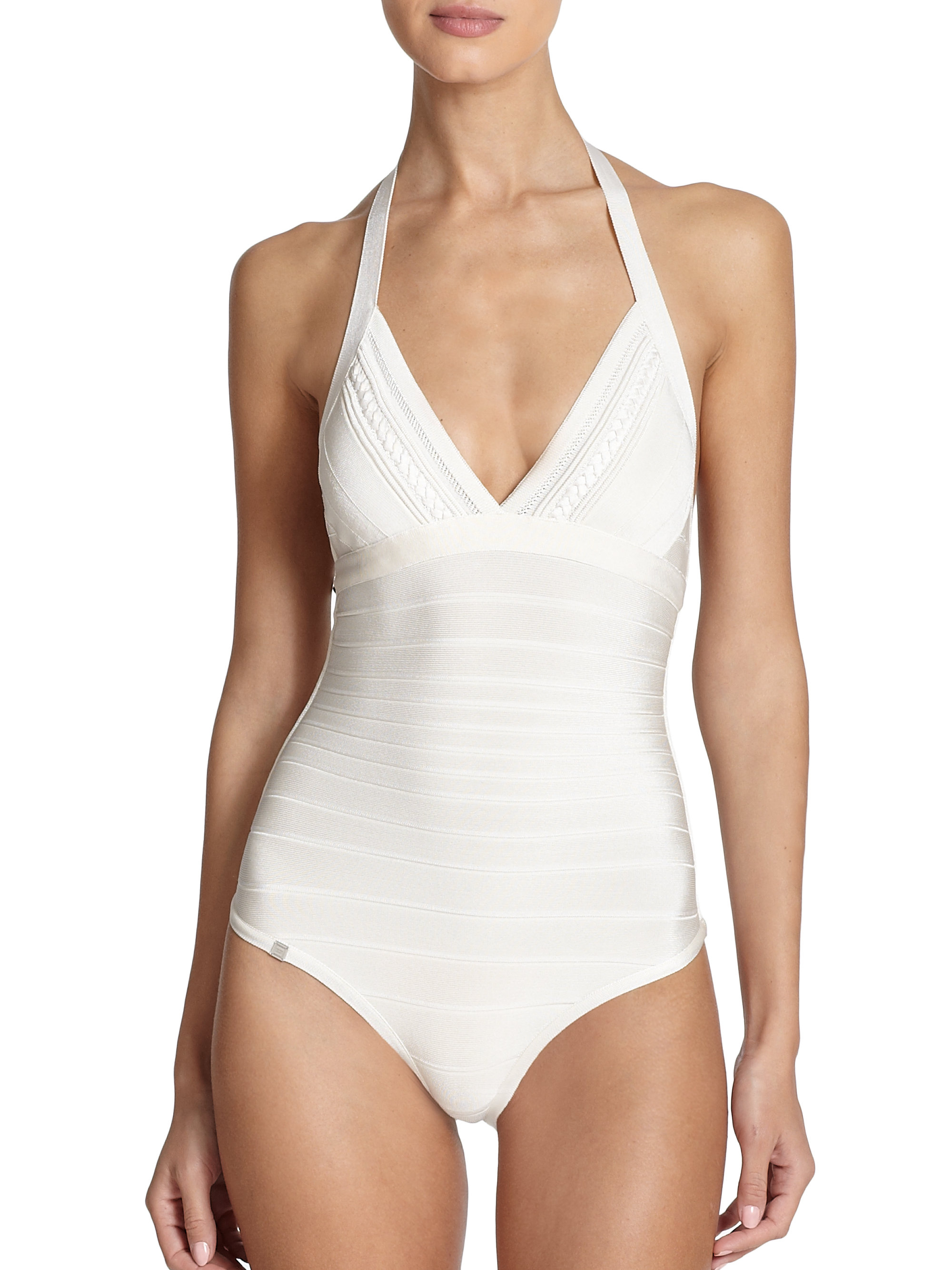6c9ef78a95a19 Hervé Léger One-Piece Macie Braided Swimsuit in White - Lyst