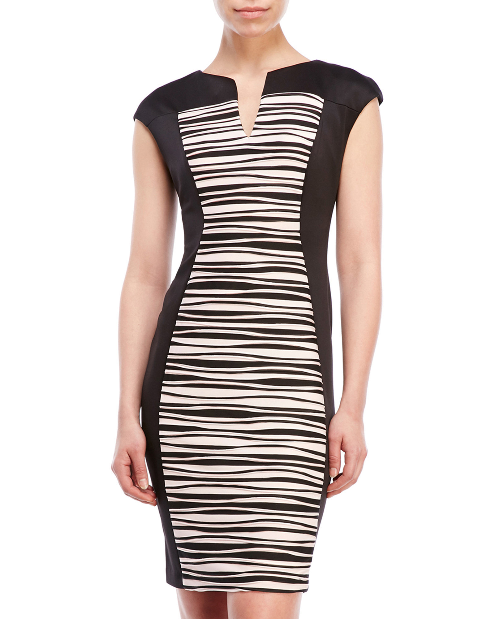 Connected Apparel Color Block Rippled Sheath Dress In
