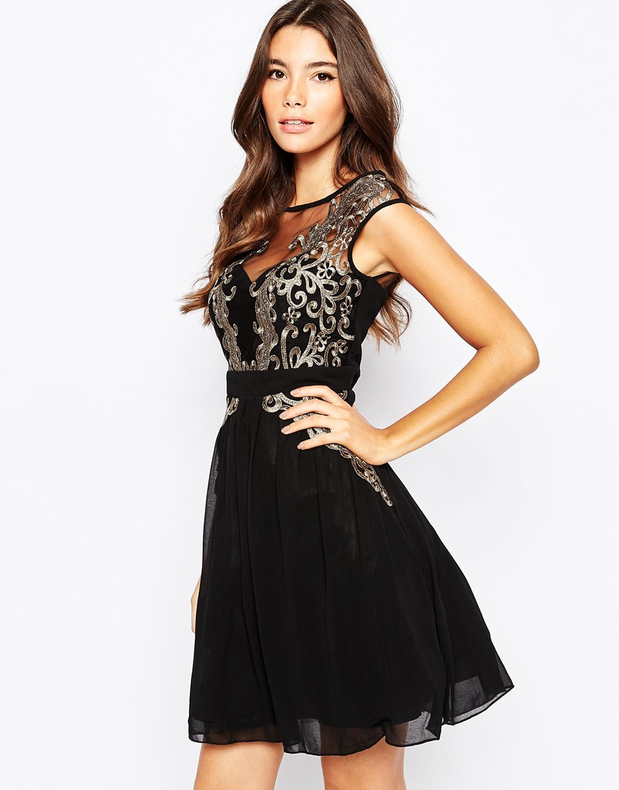 Little Mistress Metallic Lace Applique Prom Skater Dress