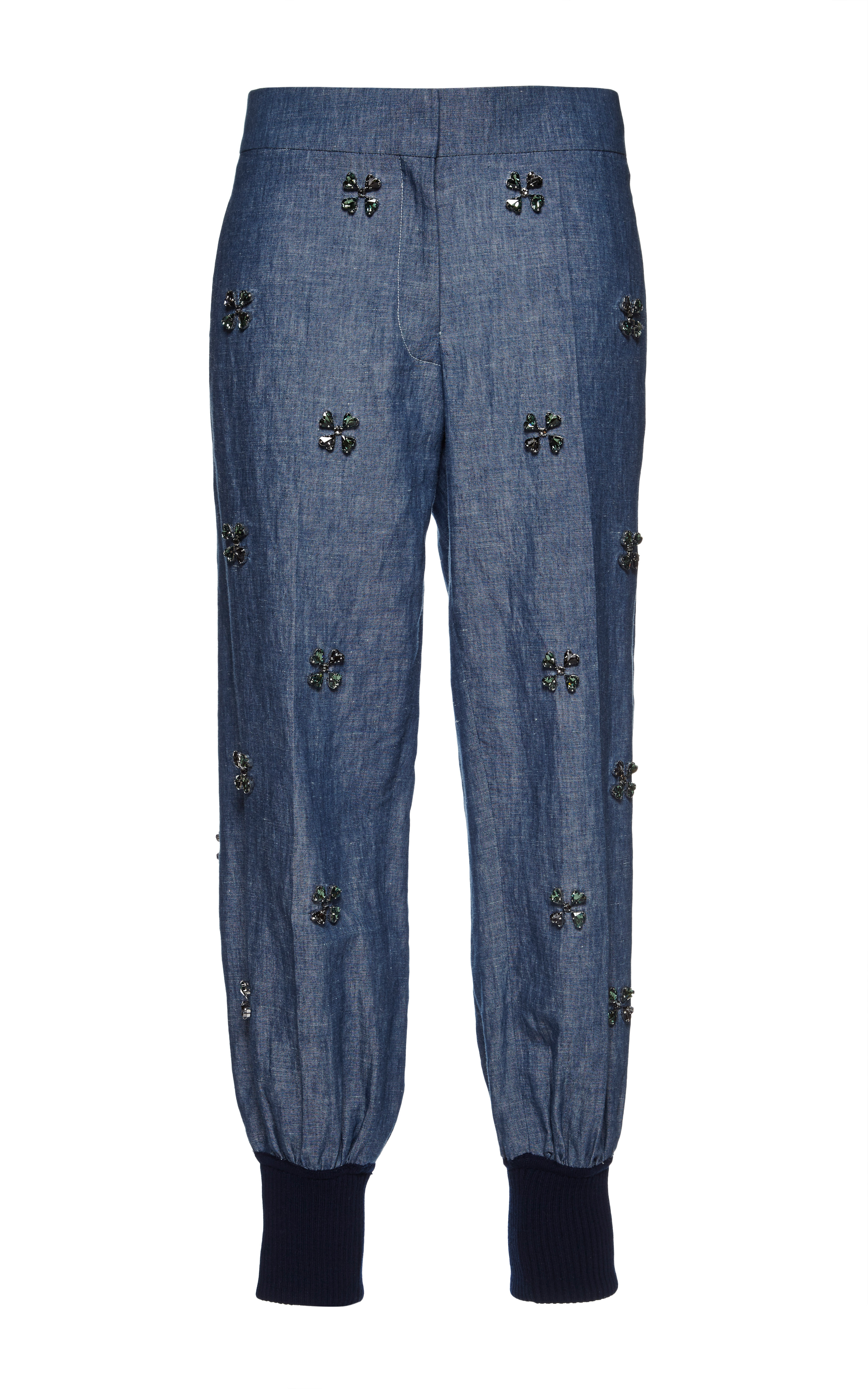 Lyst sonia rykiel blue cotton and linen chambray for Chambray jeans