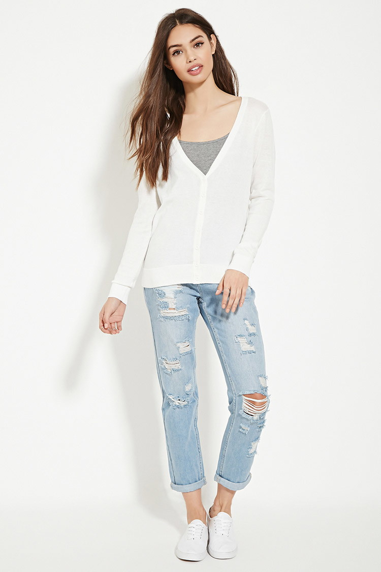 forever 21 classic cardigan in white lyst