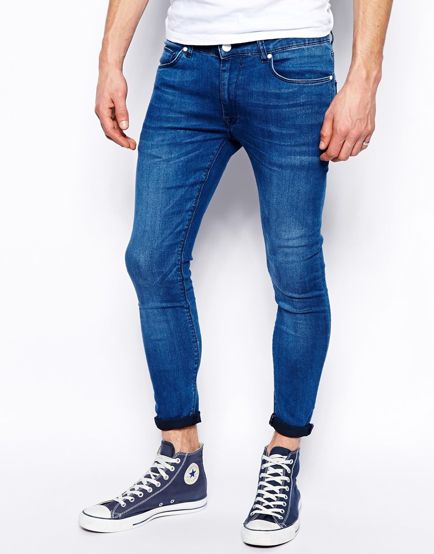 asos cropped extreme super skinny jeans in blue for men lyst. Black Bedroom Furniture Sets. Home Design Ideas