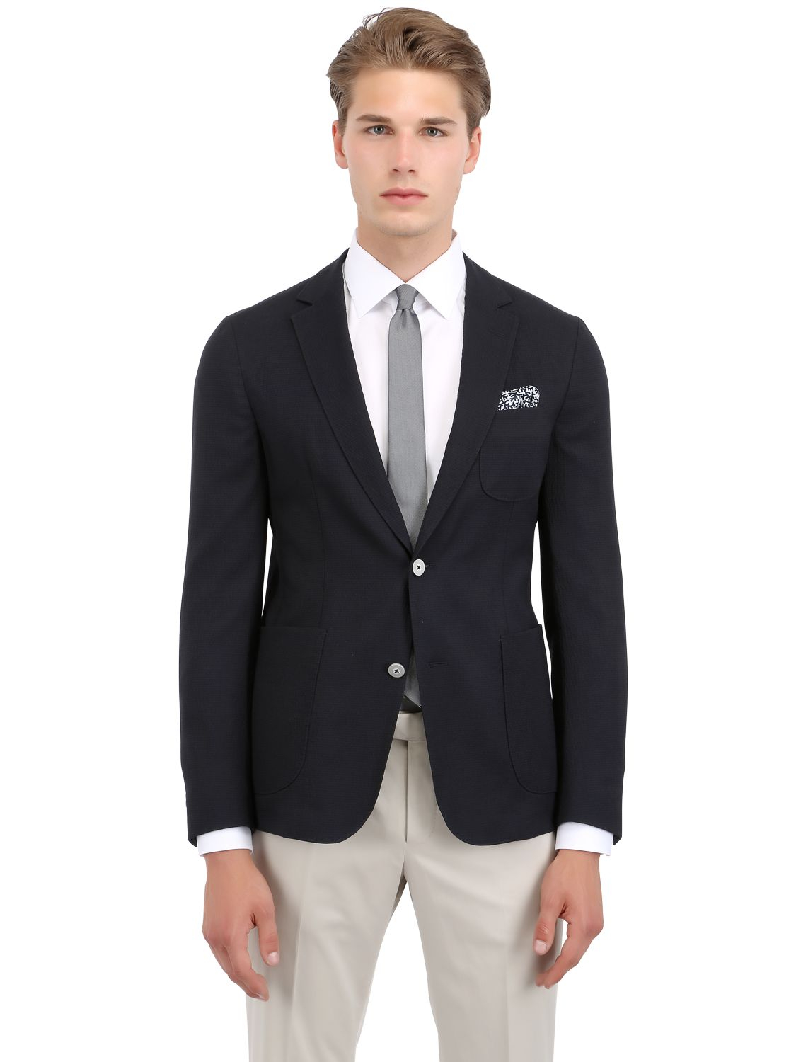 lyst z zegna deconstructed seersucker jacket in blue for men. Black Bedroom Furniture Sets. Home Design Ideas
