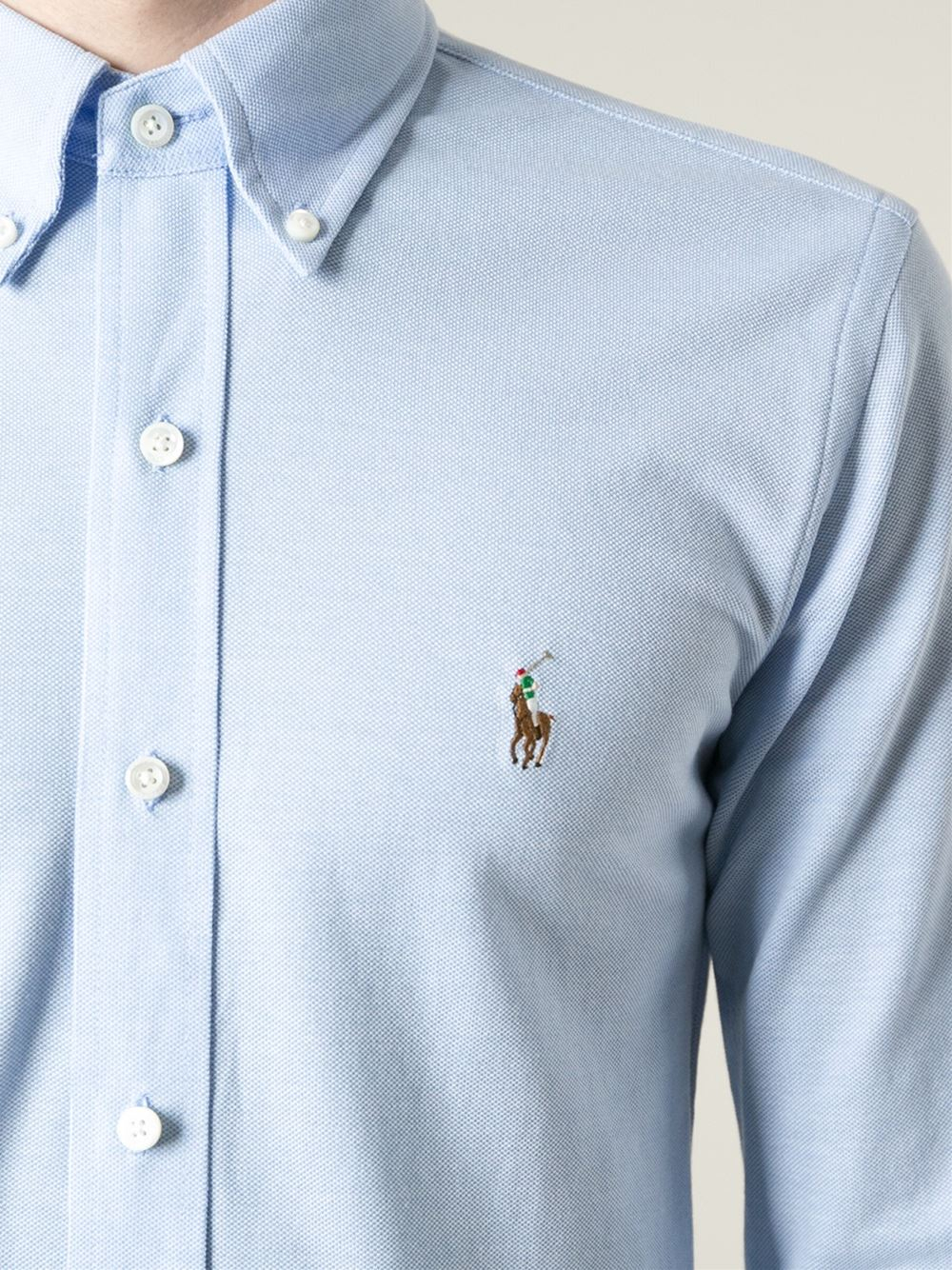 Polo ralph lauren logo embroidered classic shirt in blue
