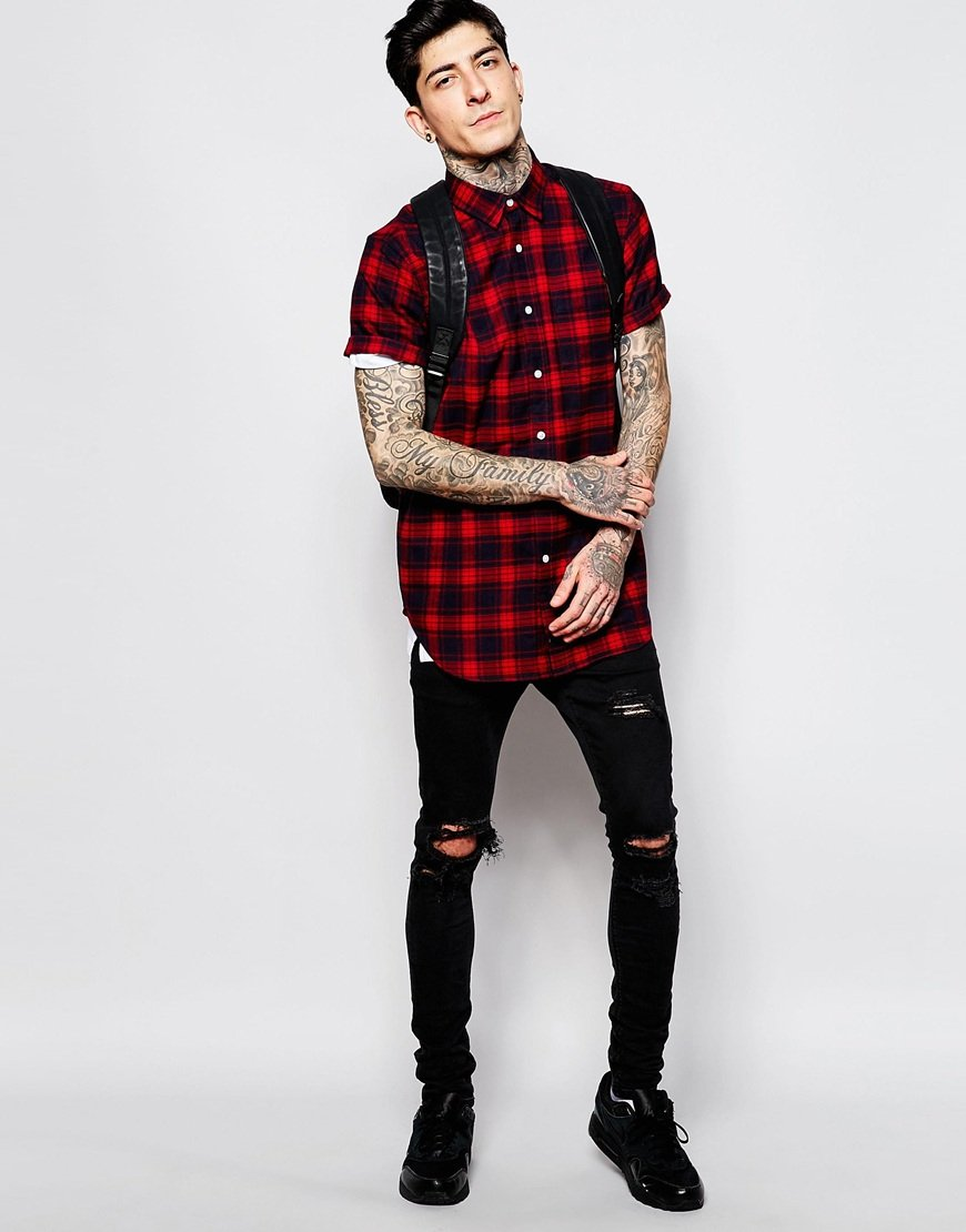 Asos Check Shirt In Flannel With Short Sleeve Longline in Red for ...