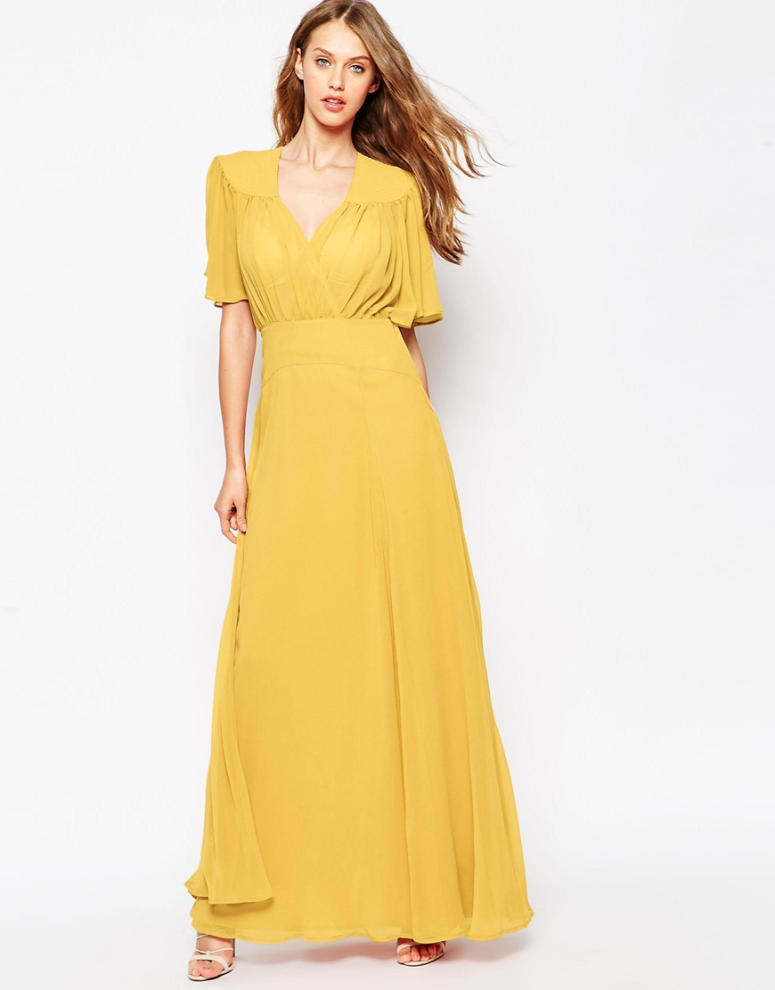 lyst asos maxi dress with stitch shoulder detail in yellow. Black Bedroom Furniture Sets. Home Design Ideas