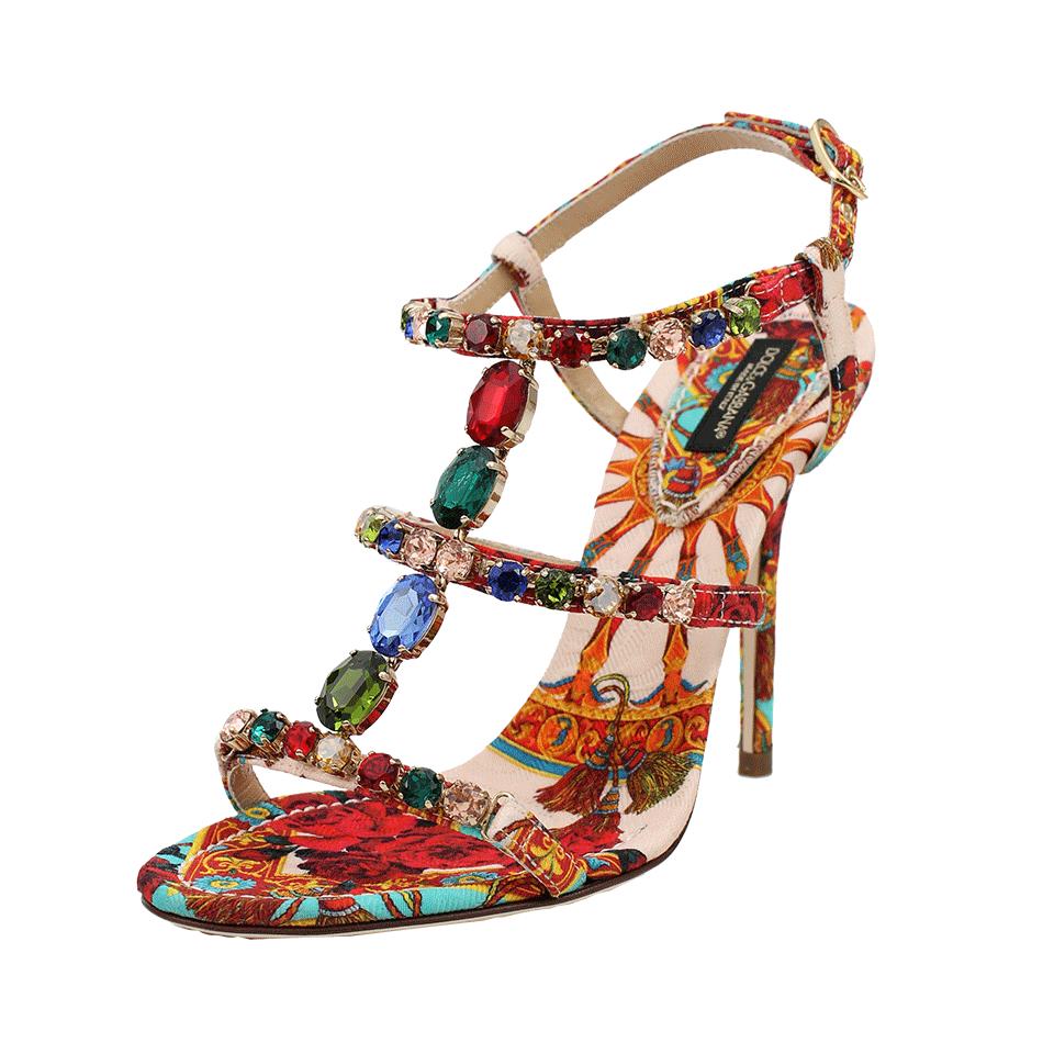 7095232c3615 Lyst - Dolce   Gabbana Crystal Embellished Sandal in Pink