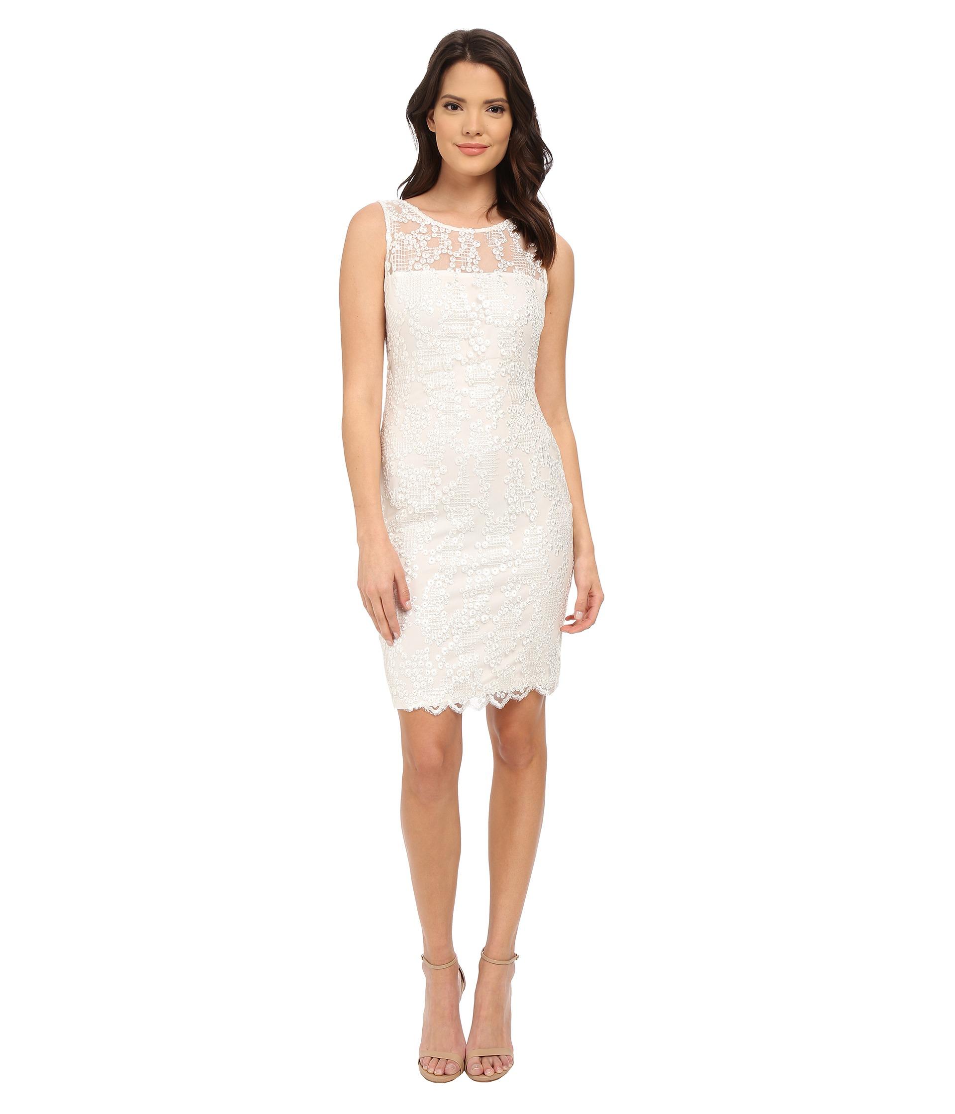 Calvin klein Lace Sheath Dress Cd5b4m6c in White | Lyst