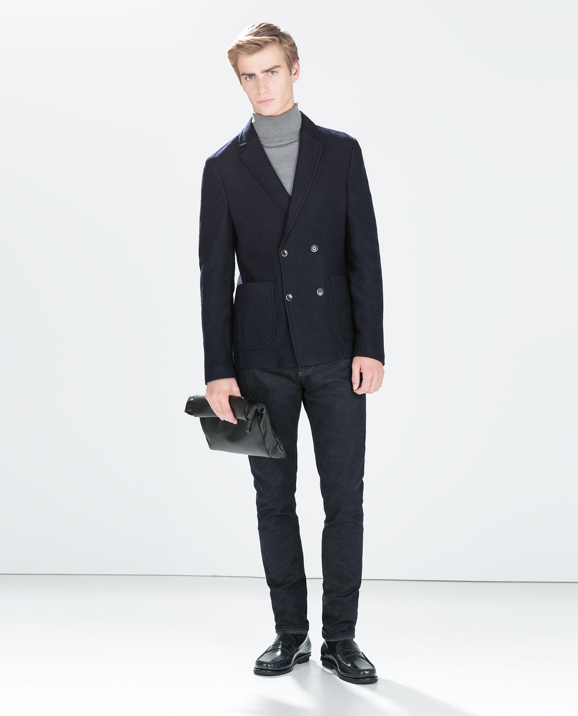 Zara Double Breasted Jacket in Blue for Men   Lyst