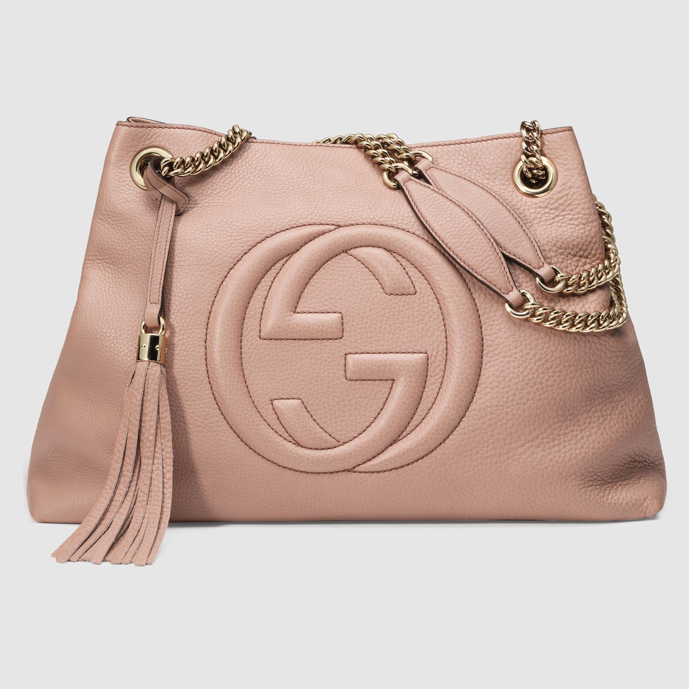 3166b2ed56d8 Lyst Gucci Soho Leather Shoulder Bag In Pink