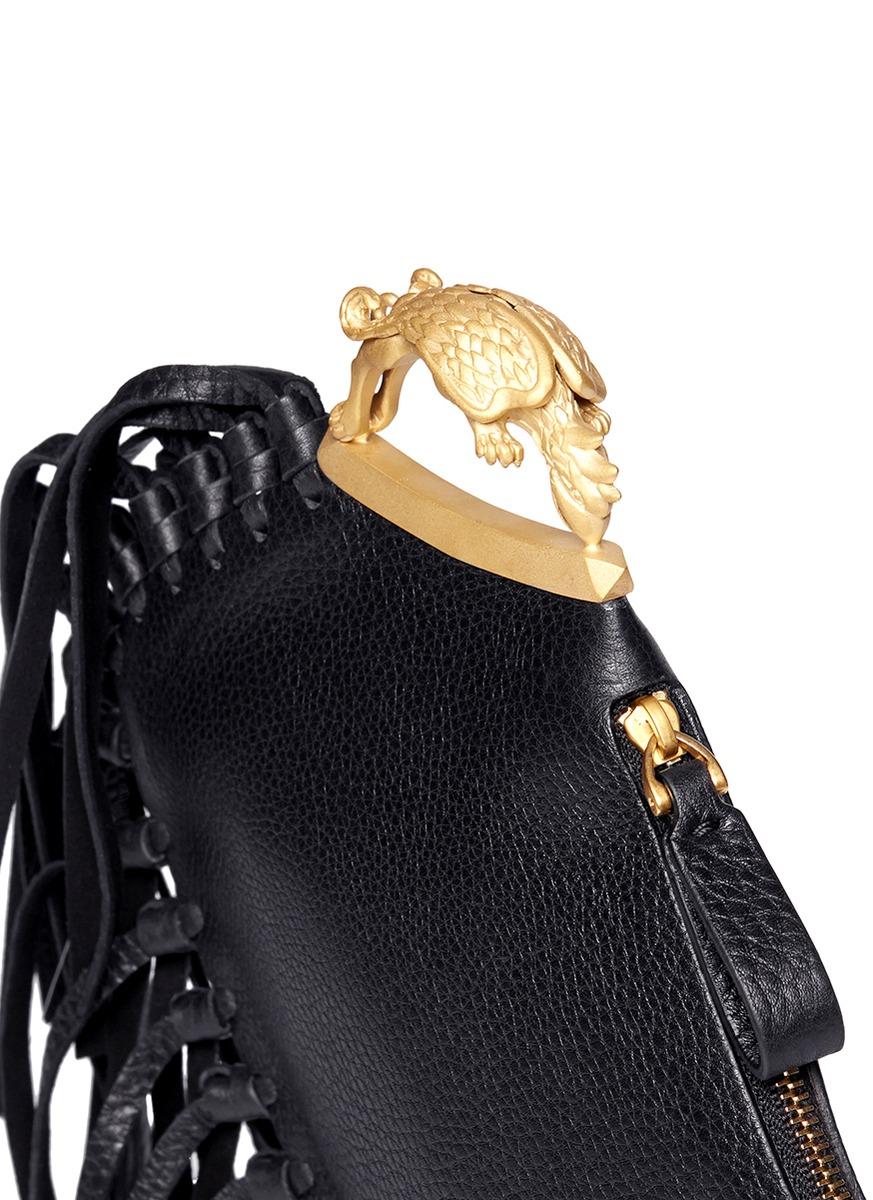 Valentino Gryphon Fringe Leather Finger Clutch In Black Lyst