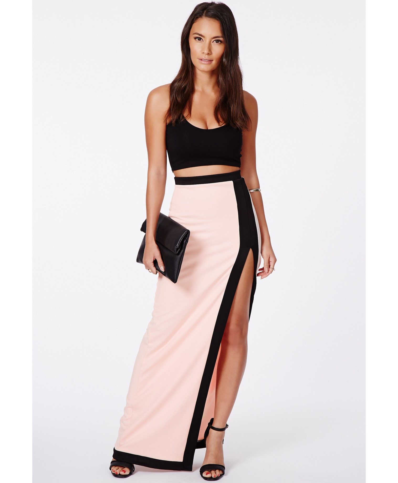 Waisted High maxi skirt with split pictures