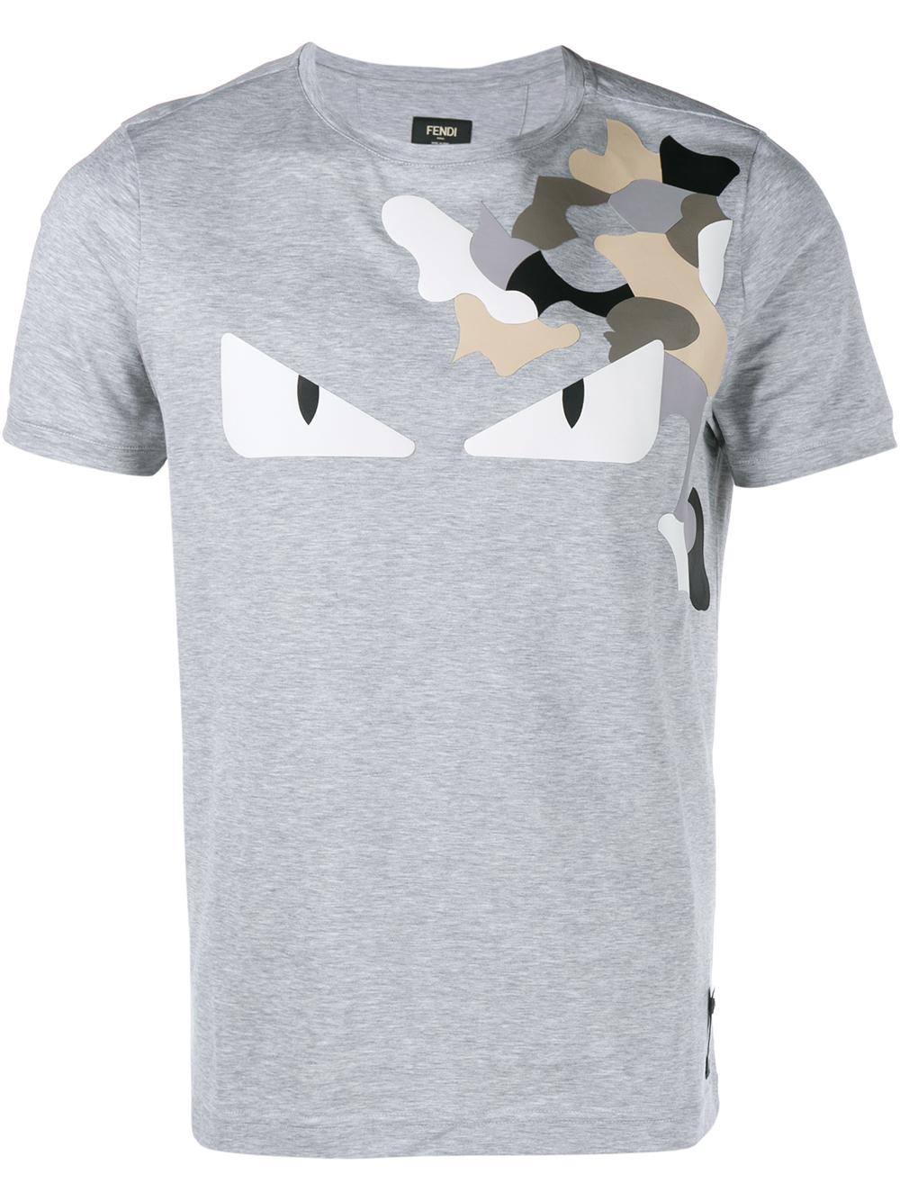 2494719f0f30 Lyst - Fendi Camo Monster T-shirt in Gray for Men