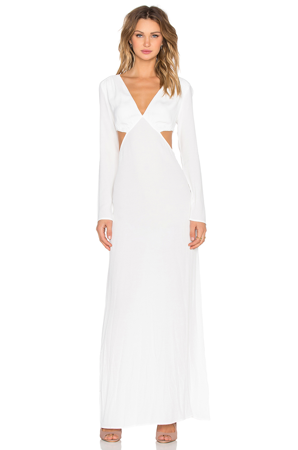 The ldrs Long Sleeve Cutout Maxi Dress in White | Lyst