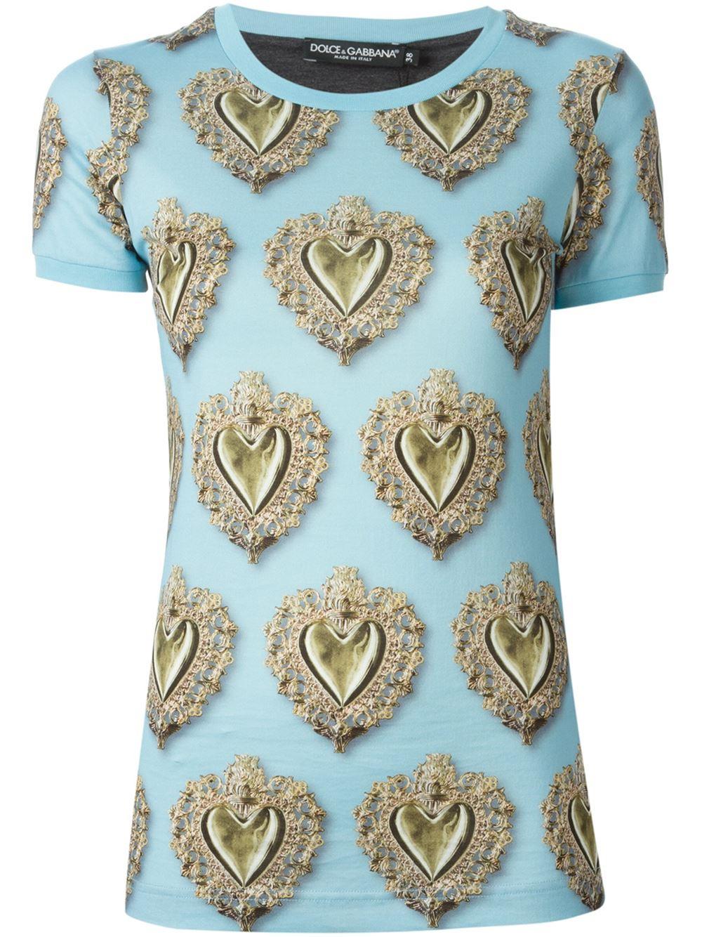 Dolce gabbana sacred heart printed t shirt in blue lyst for Dolce and gabbana printed t shirts