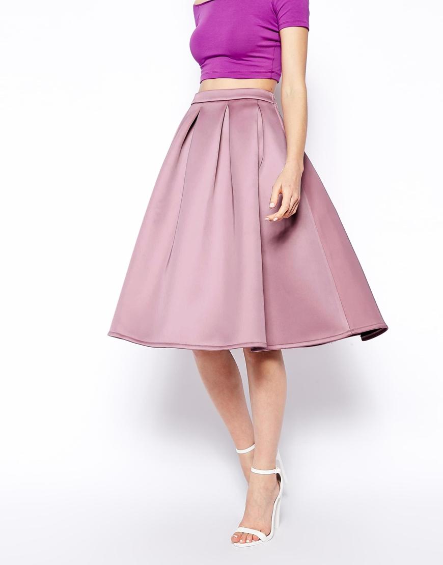 asos premium prom midi skirt in bonded satin in pink lyst