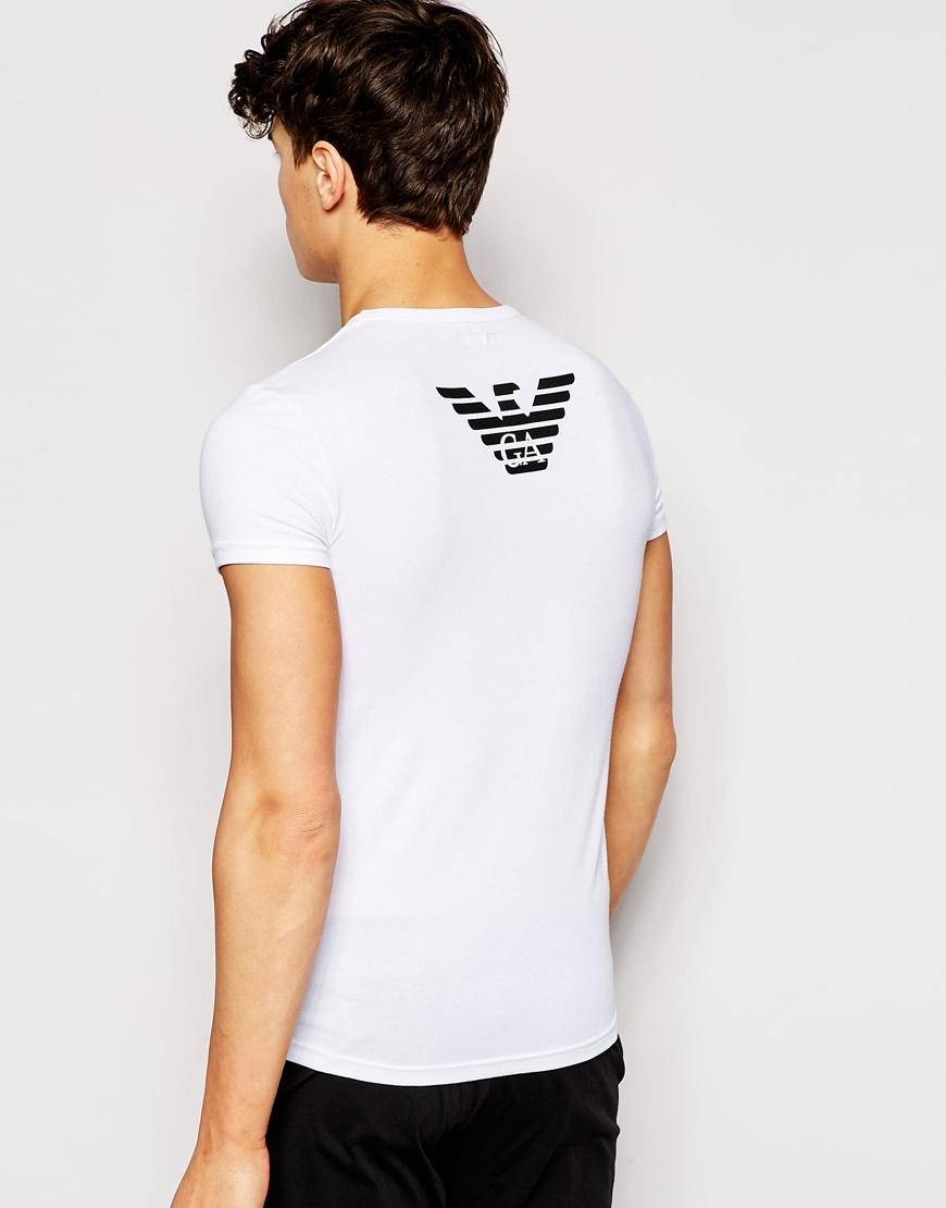 emporio armani eagle back print t shirt in stretch cotton. Black Bedroom Furniture Sets. Home Design Ideas
