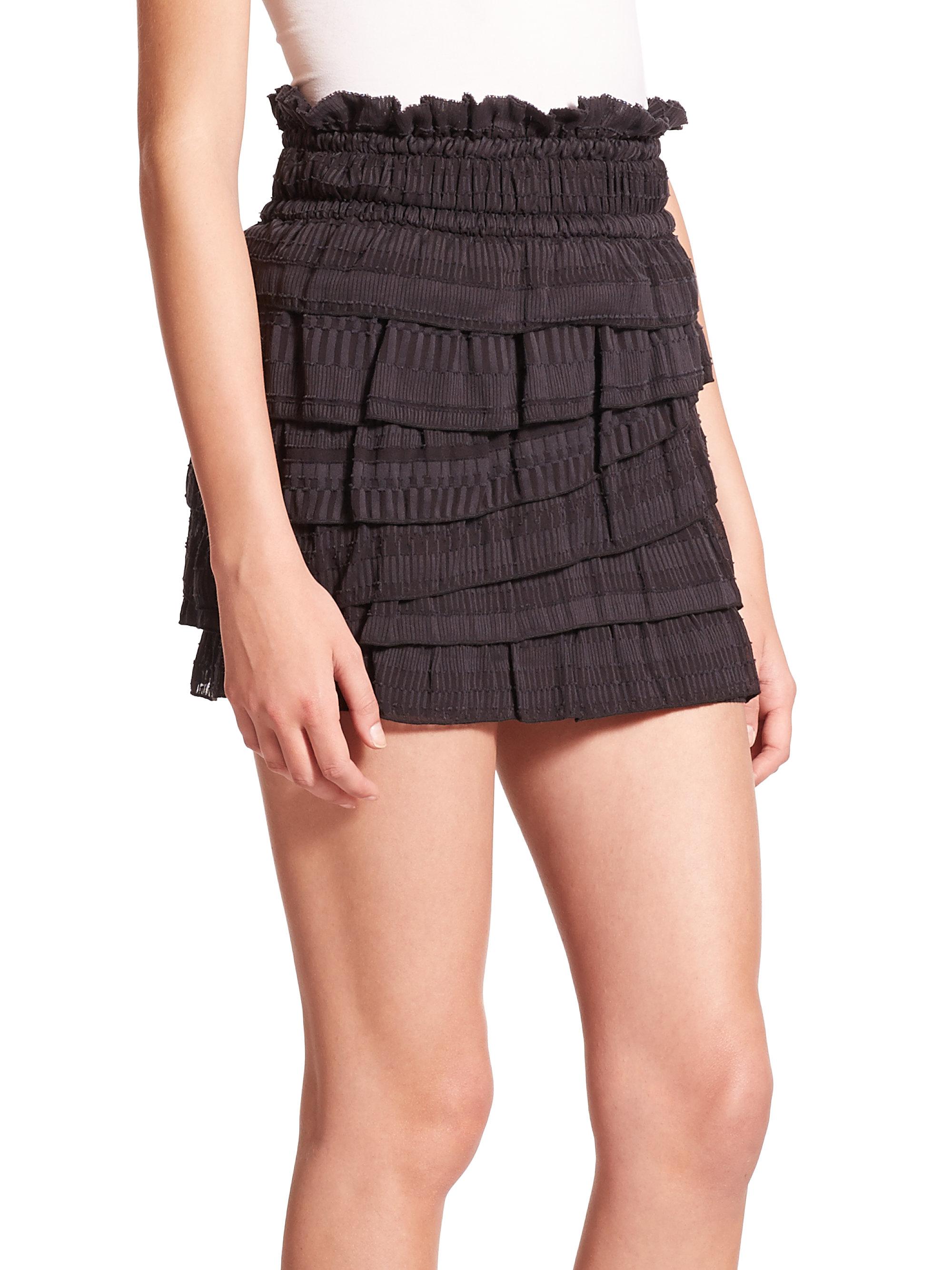 Iro Delia Tiered Ruffle Mini Skirt in Black | Lyst