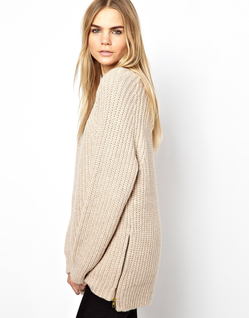 Zadig & voltaire Longline Chunky Sweater with Side Zips in Natural ...