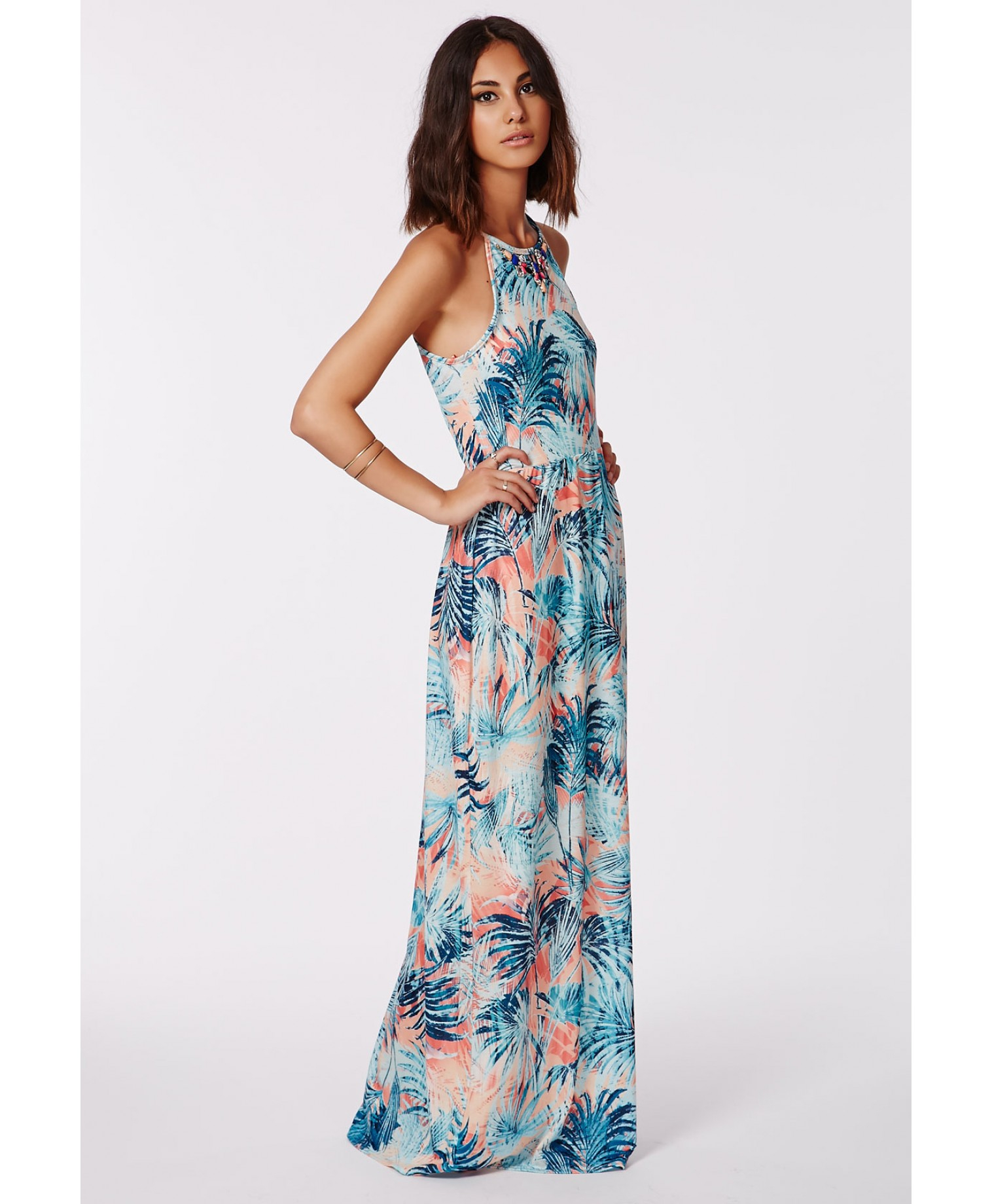 Missguided Justana Necklace Tropical Racer Neck Maxi Dress | Lyst