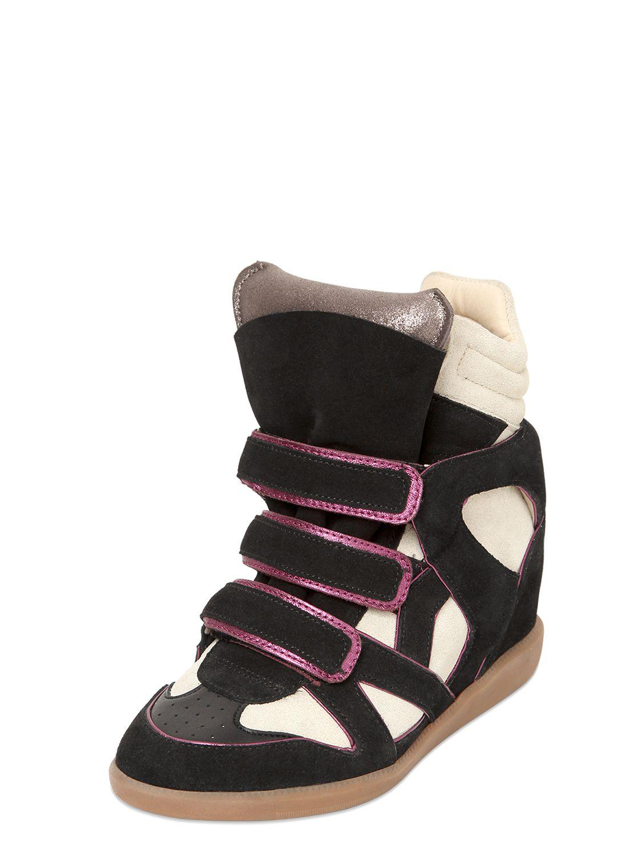 c88878834896 Lyst - Isabel Marant Etoile 80Mm Wila Suede Wedge Sneakers in Black