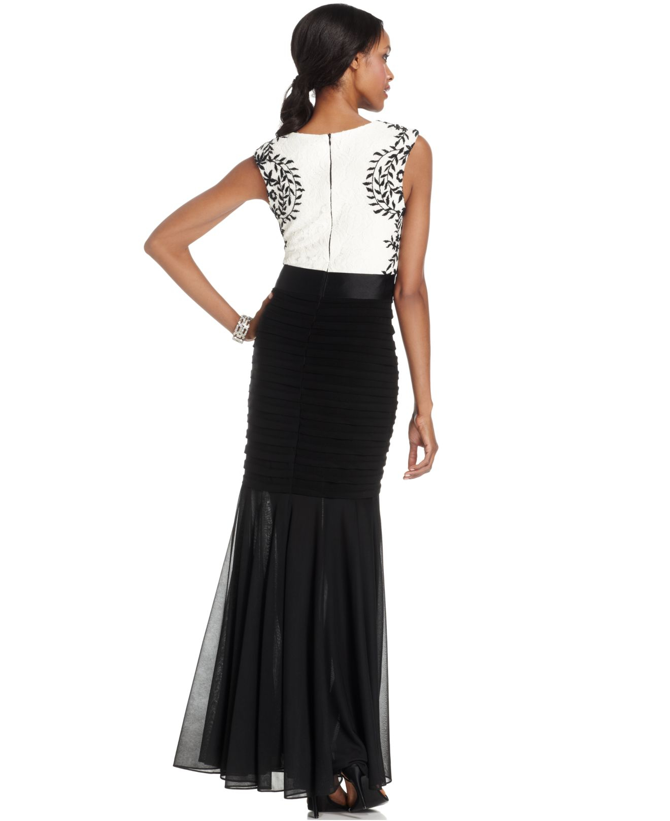 Betsy Amp Adam Embroidered Lace Pleated Mermaid Gown In