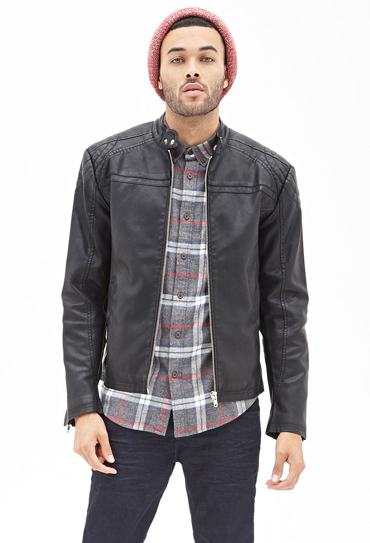 Forever 21 Faux Leather Moto Jacket In Black For Men Lyst