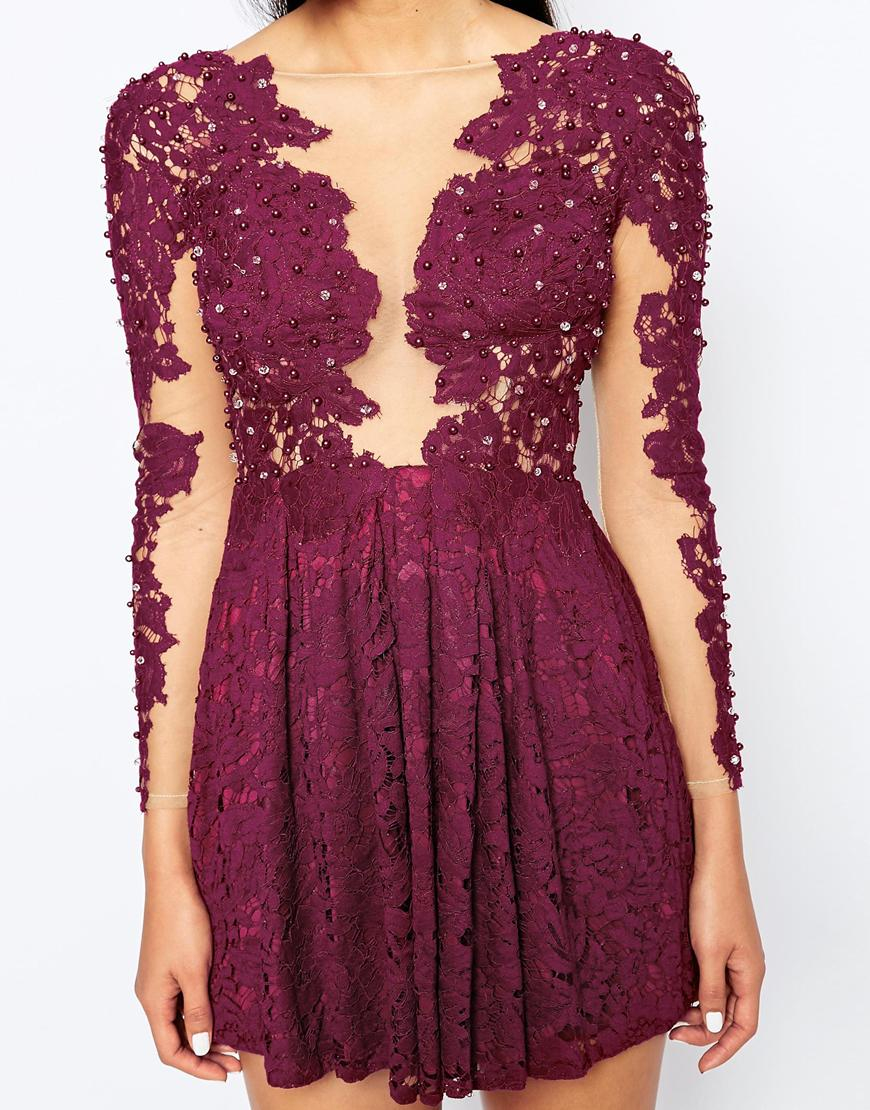 Lyst - Rare Opulence Skater Dress With Lace Applique in Purple