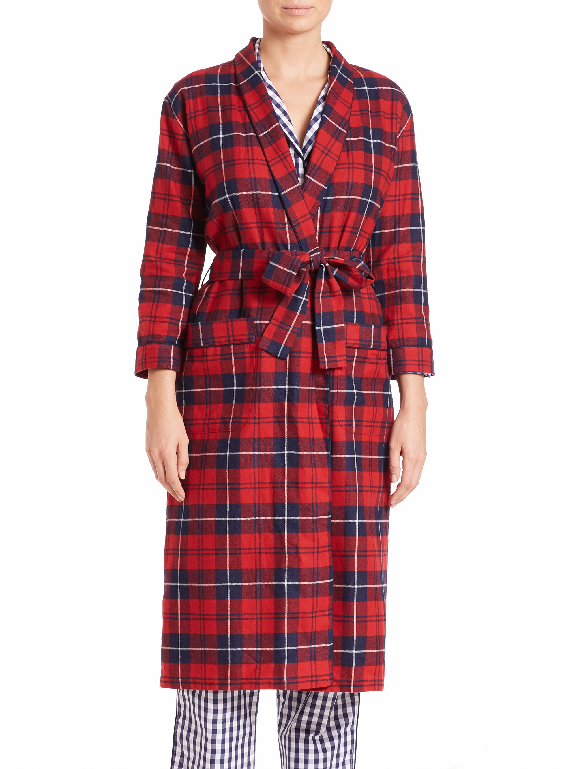 006a5c5561 Lyst sleepy jones marianne long plaid flannel robe in red jpg 2000x2667  Long flannel robes for