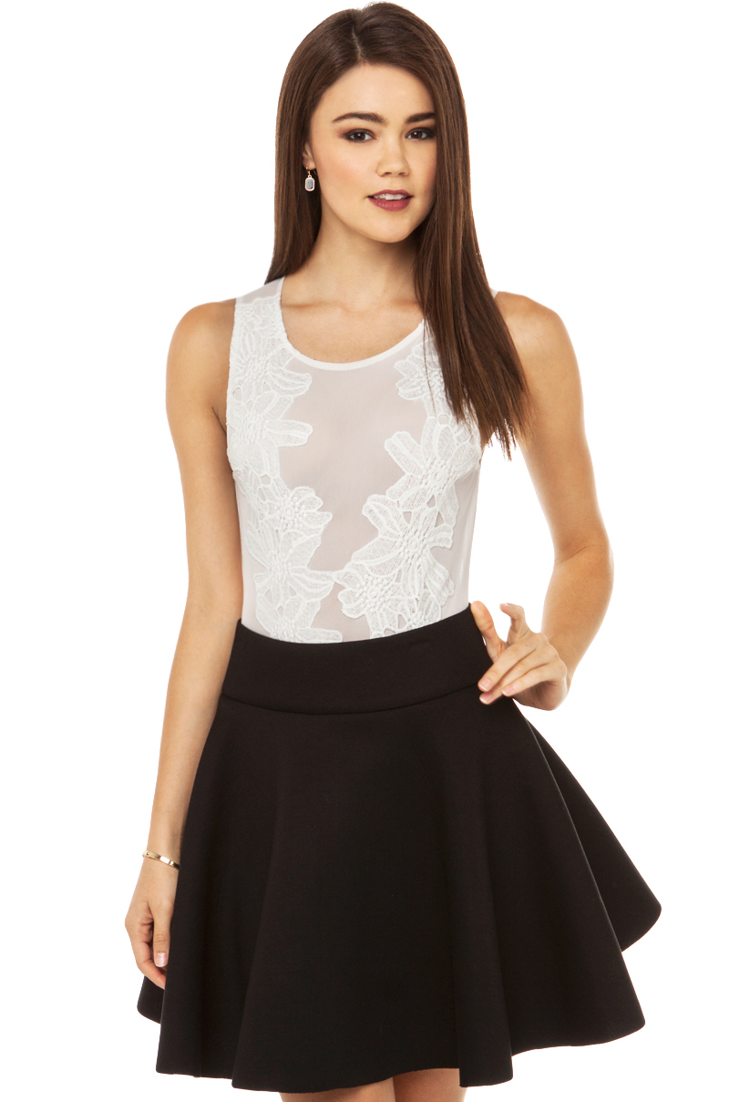 b278fd6037 Lyst - Akira Black Label Embroidered Mesh Bodysuit in White in White