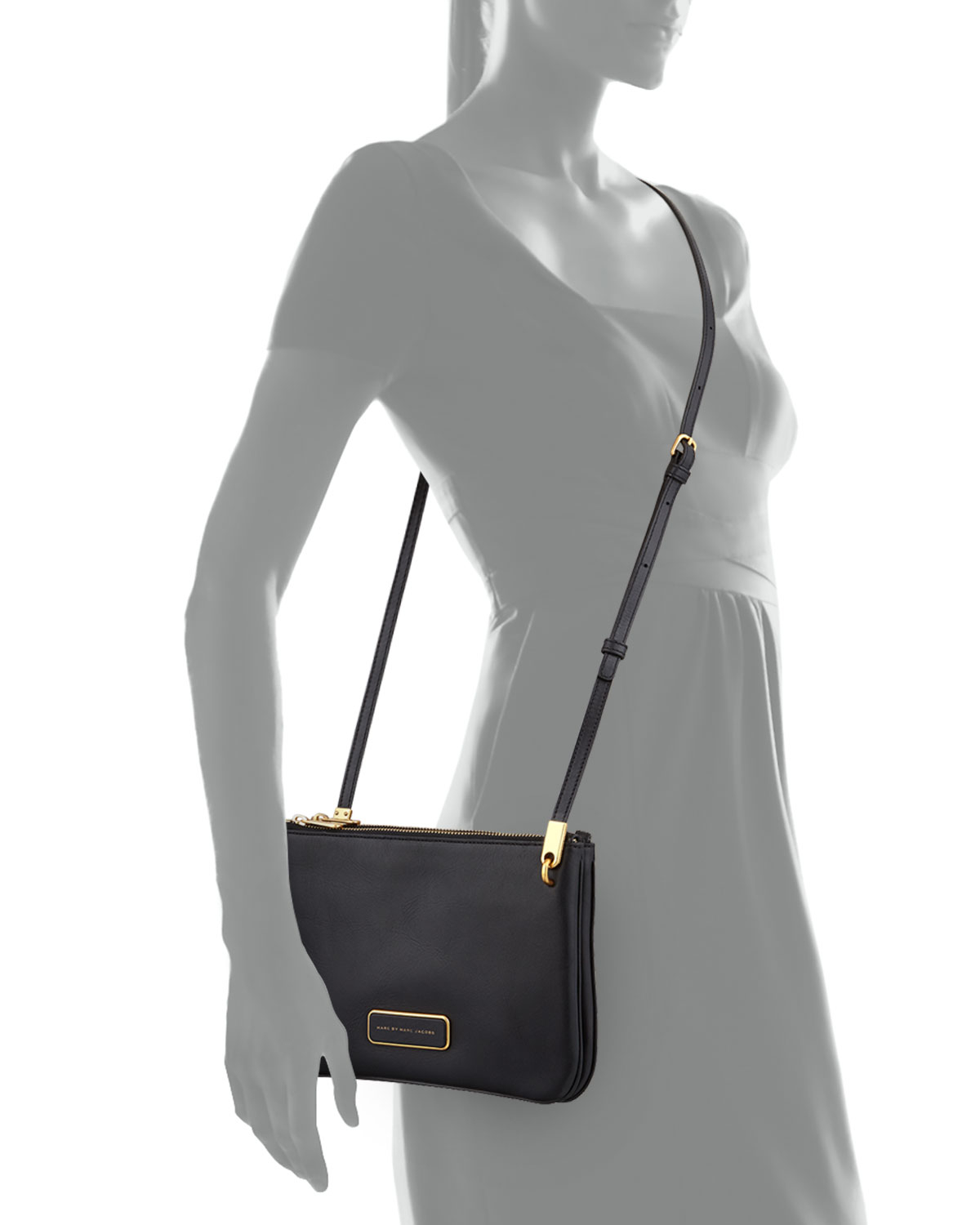 Marc by marc jacobs Ligero Double Percy Crossbody Bag in Black | Lyst