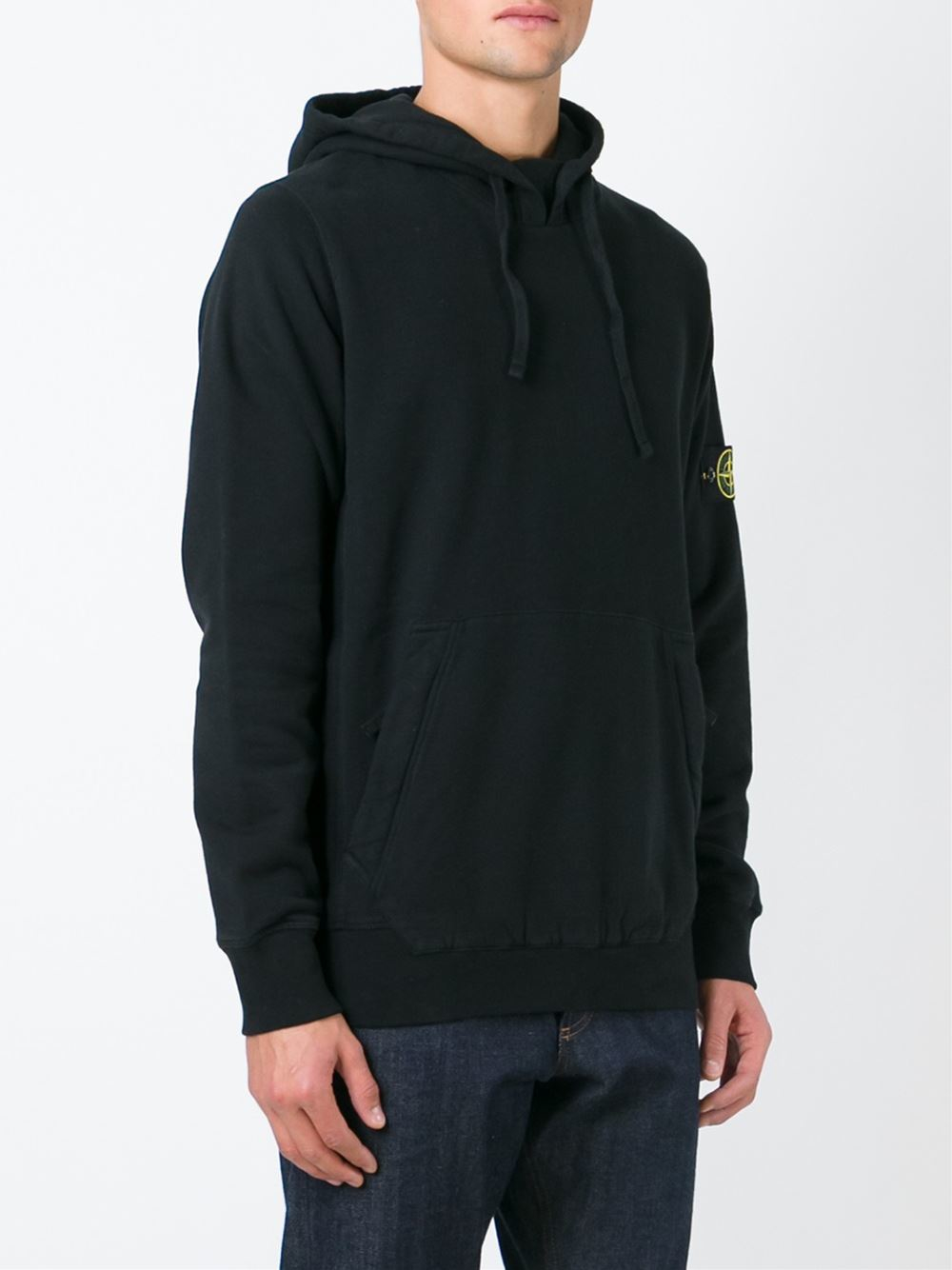 stone island kangaroo pocket hoodie in black for men lyst. Black Bedroom Furniture Sets. Home Design Ideas