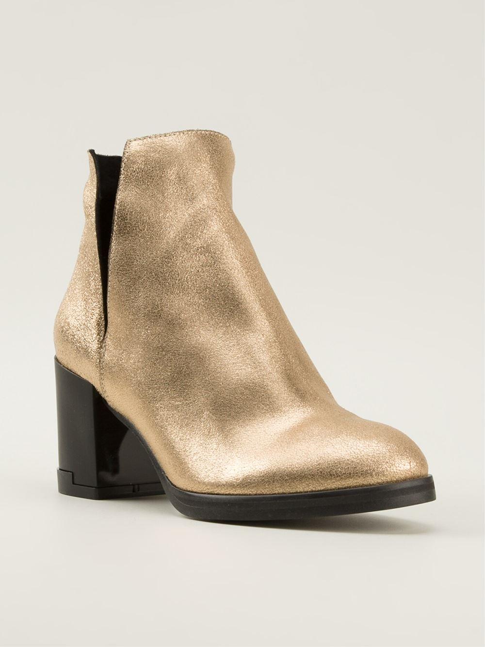 Miista 'Lena' Heeled Ankle Boots in Metallic | Lyst