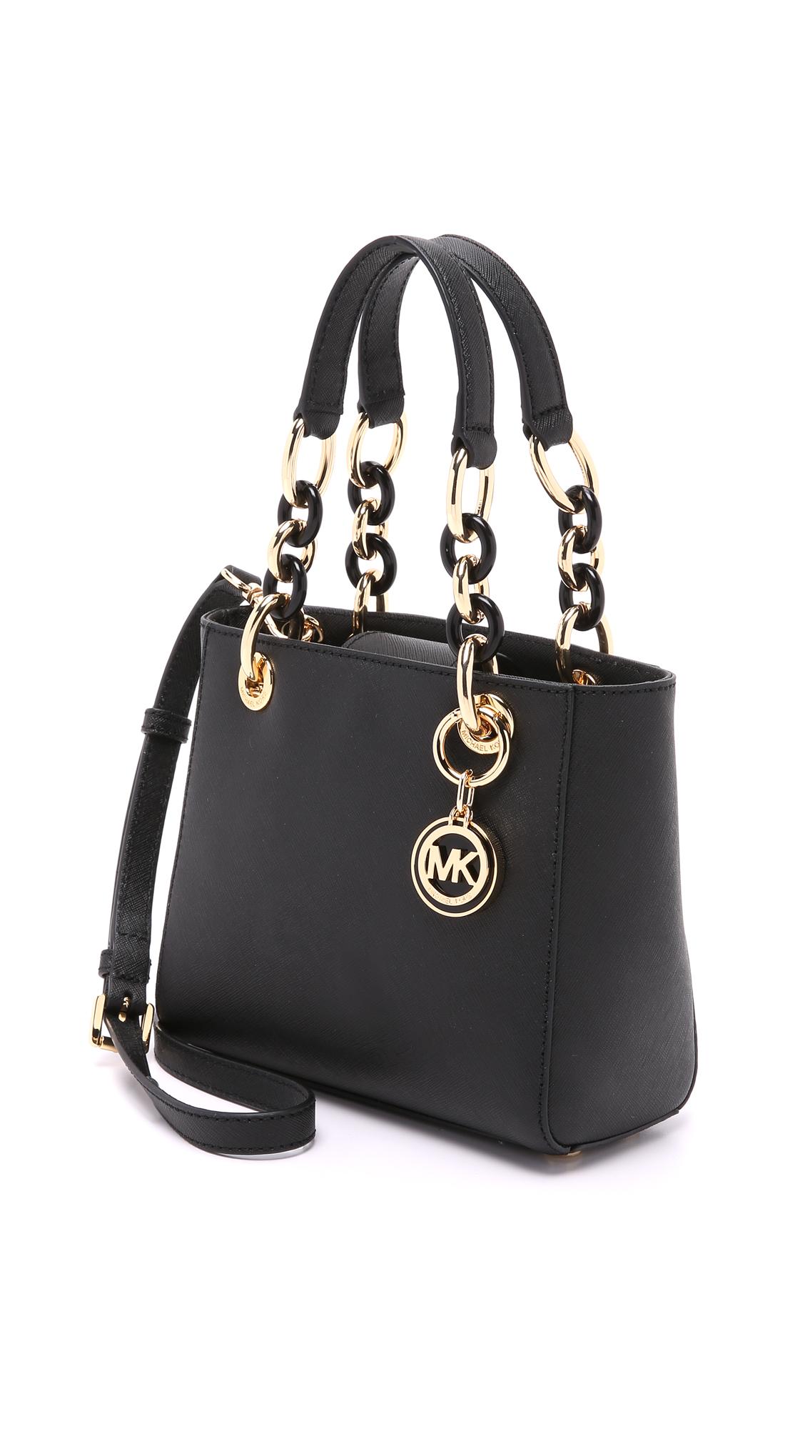 87f0ea84de54 ... where to buy lyst michael michael kors cynthia extra small satchel  black in black 6dc2e 5bb4e ...