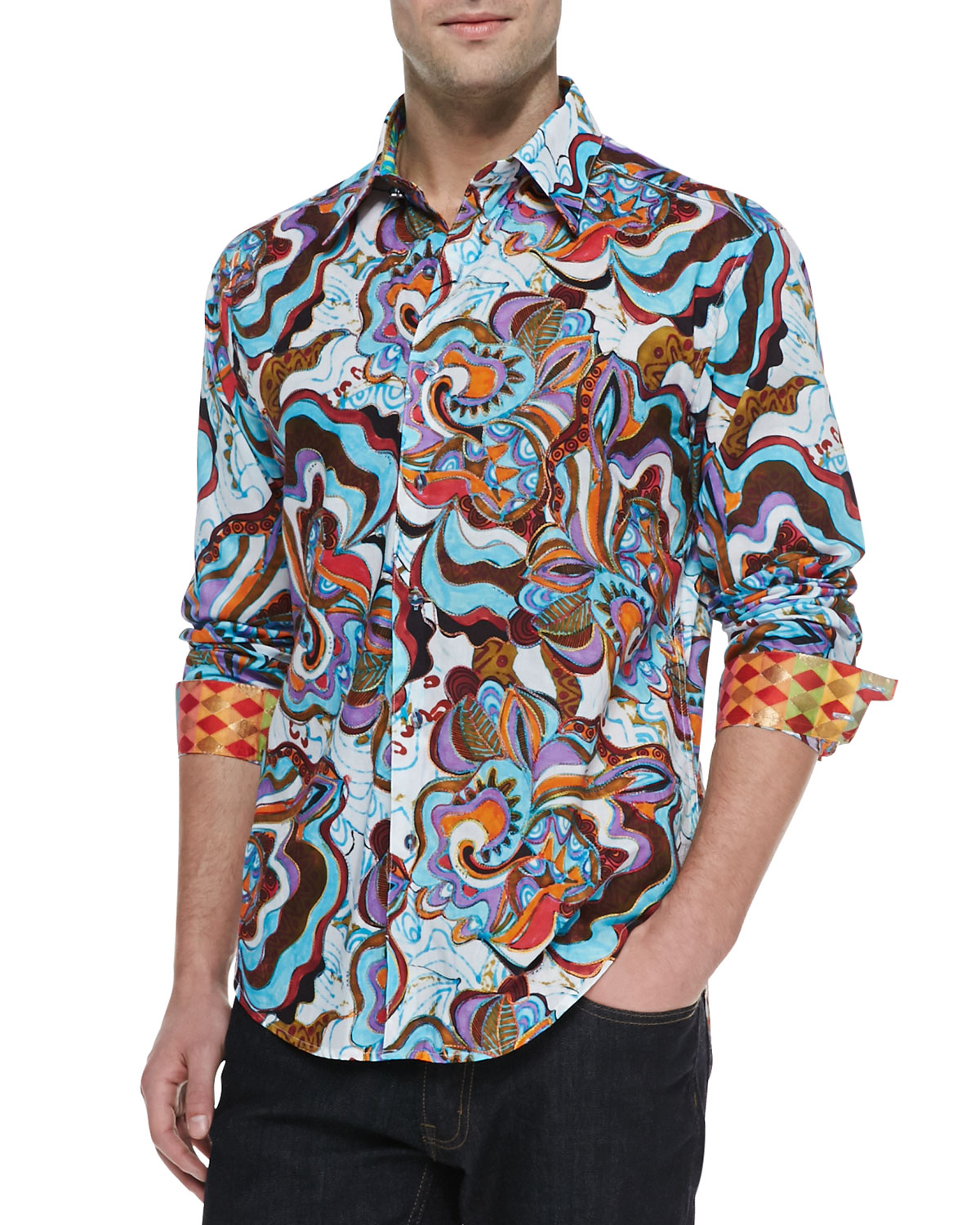 Lyst robert graham limited edition jimbo sport shirt in for Where are robert graham shirts made