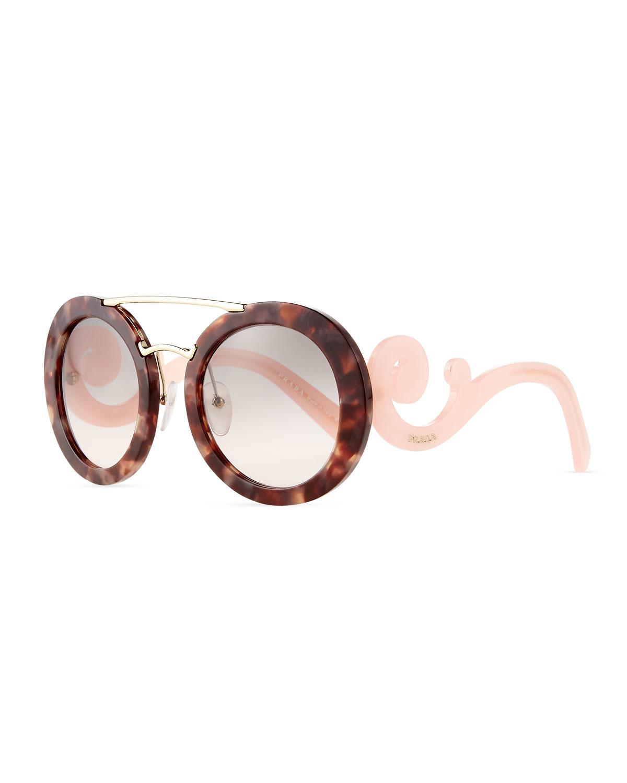 85634e3a4 ... new zealand lyst prada baroque round brow bar sunglasses in pink fd623  79bc0