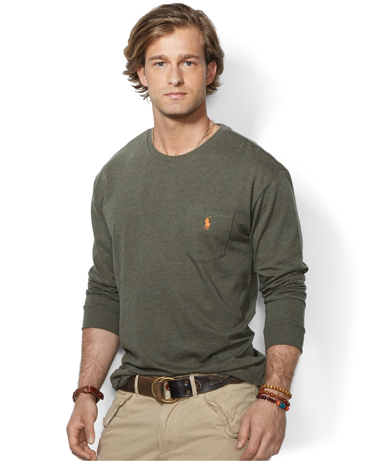 45ddbc7a65d1d ... low price lyst polo ralph lauren classic fit long sleeved jersey pocket  crew 3c62c 59ab3