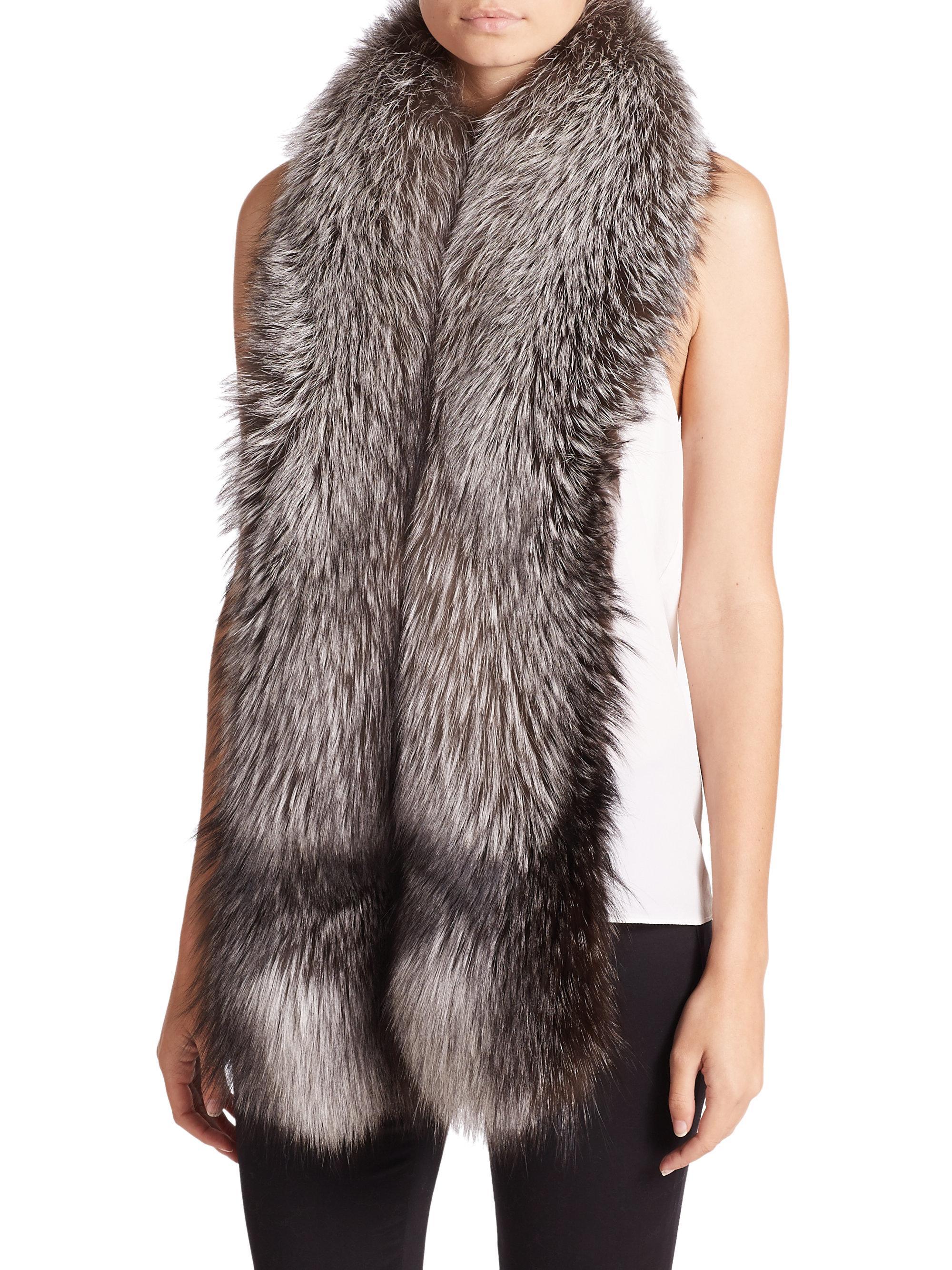 adrienne landau fox fur infinity loop scarf in gray lyst