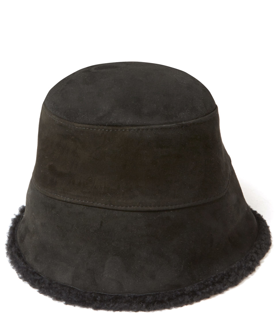 cd563606 Grevi Black Suede Shearling Bucket Hat in Black - Lyst