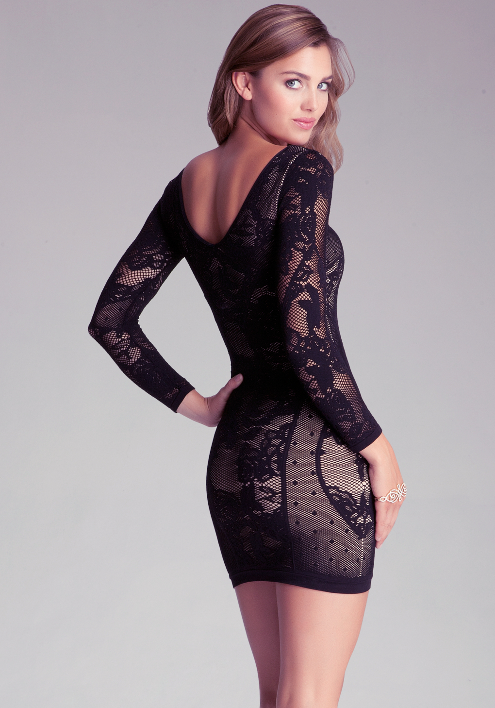 Dress: Bebe Jordana Lace Dress In Black